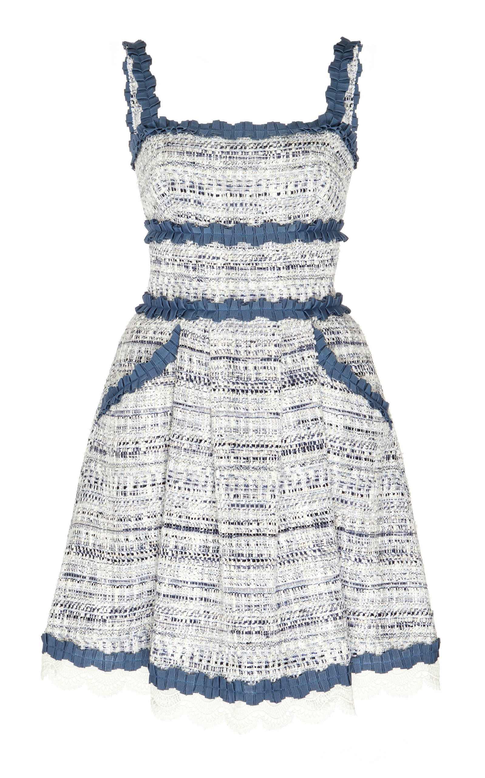 Buy Zuhair Murad Asturias Broderie Anglaise-Trimmed Tweed Dress online, shop Zuhair Murad at the best price