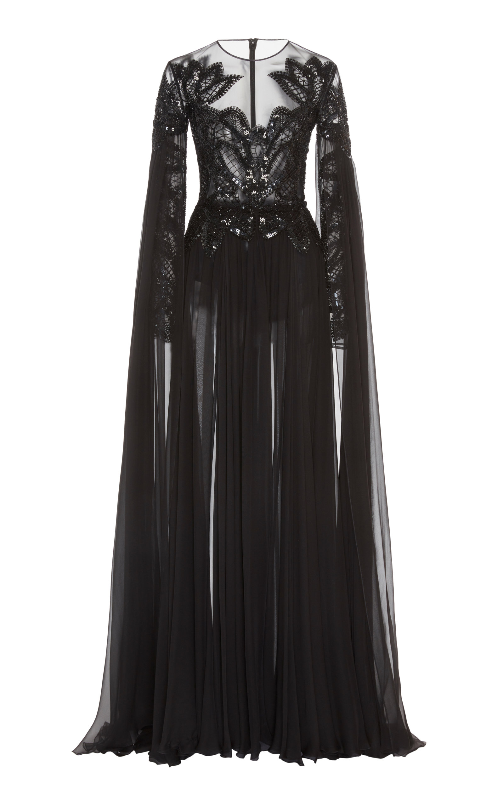 Buy Zuhair Murad Pamplona Cape-Effect Embroidered Silk-Chiffon Gown online, shop Zuhair Murad at the best price