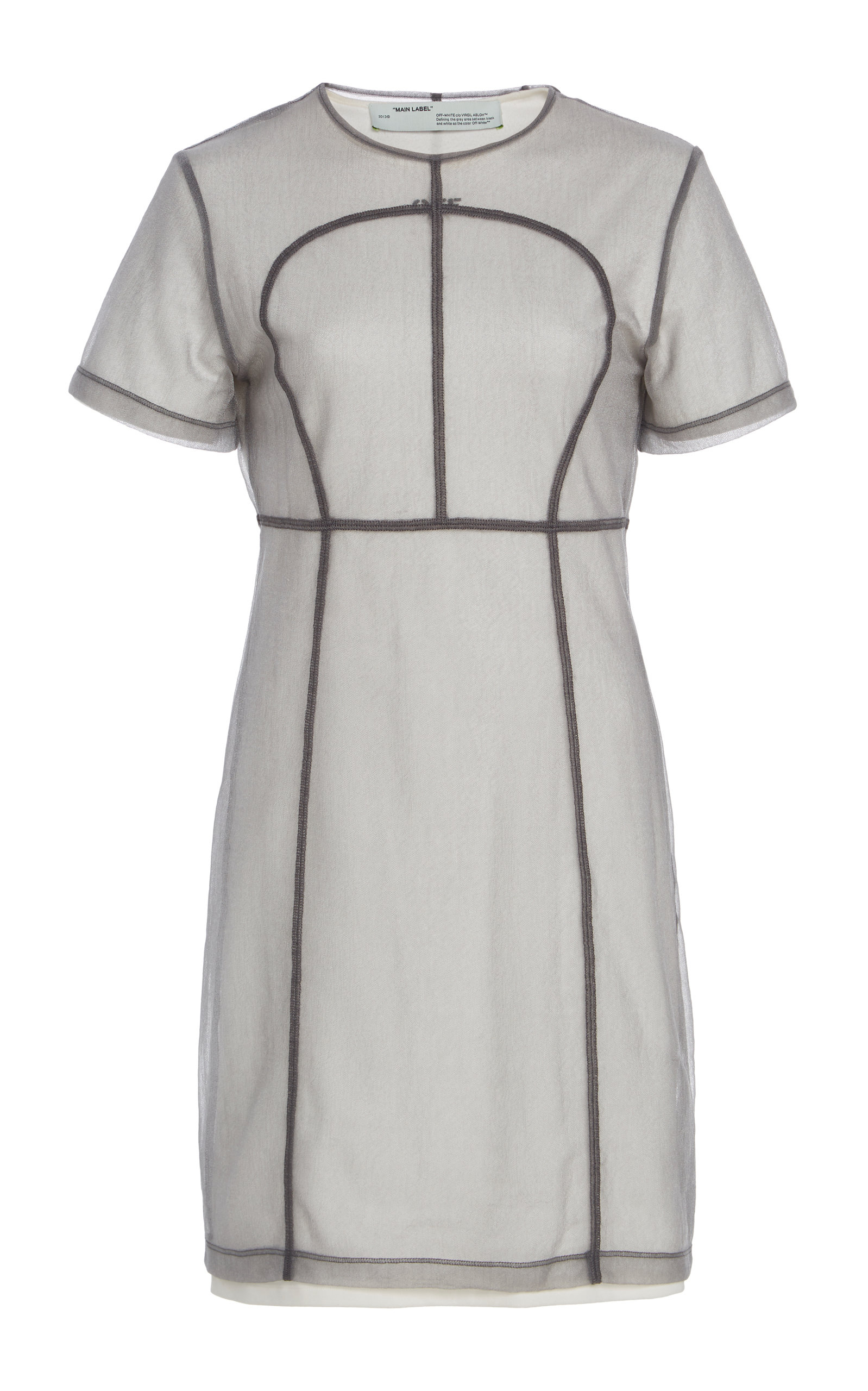Buy Off-White c/o Virgil Abloh Tulle-Overlay Seamed Mini Dress online, shop Off-White c/o Virgil Abloh at the best price