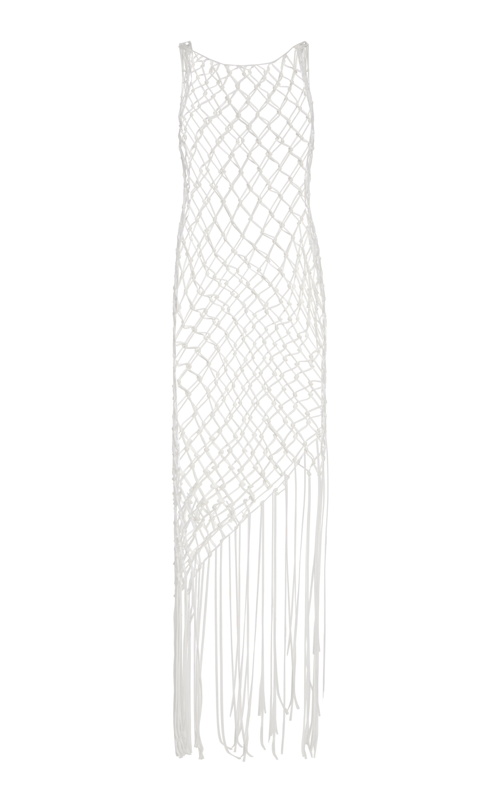 Buy Off-White c/o Virgil Abloh Fringed Cotton Fishnet Dress online, shop Off-White c/o Virgil Abloh at the best price