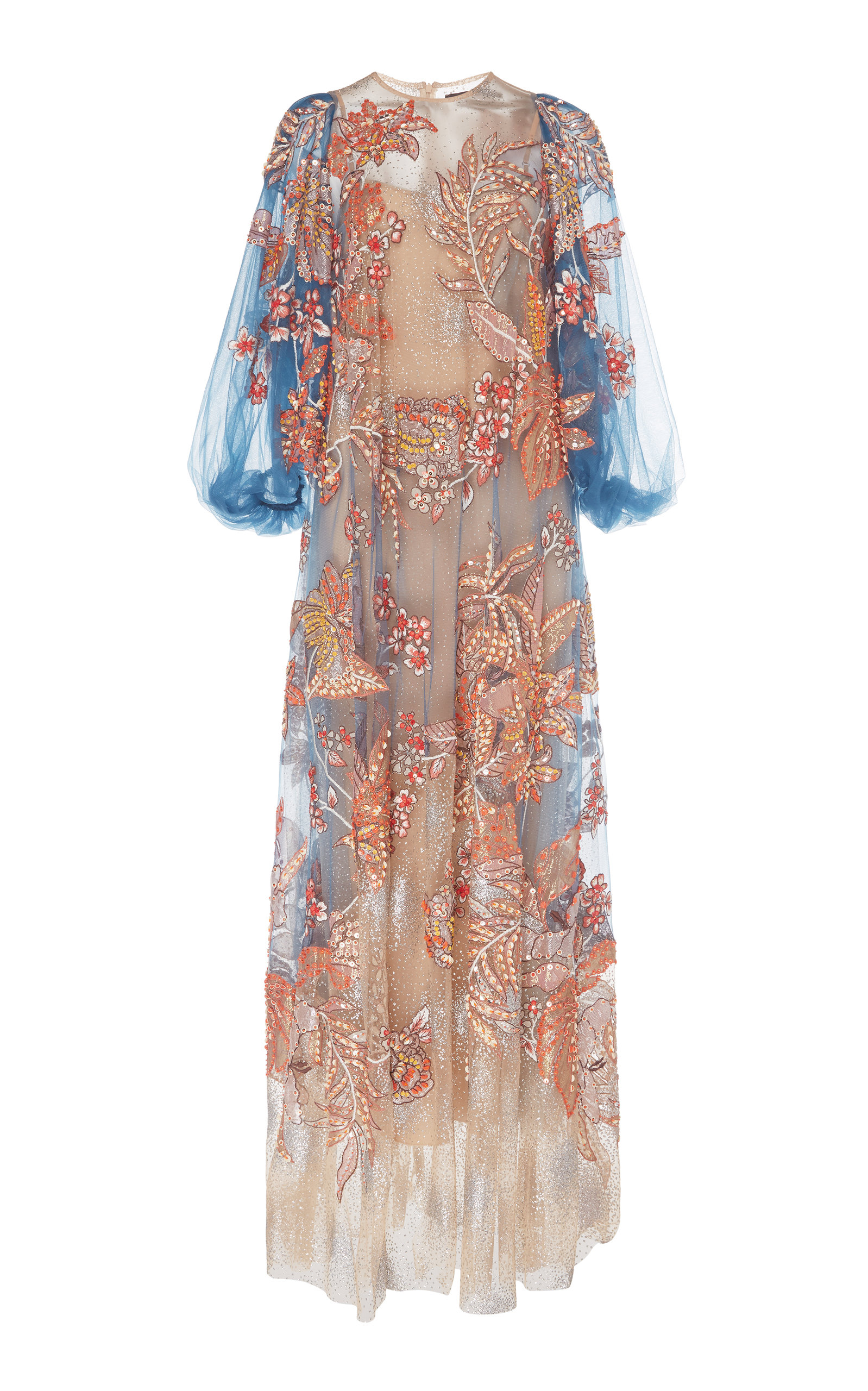 Buy Biyan Gilma Floral-Embroidered Tulle Maxi Dress online, shop Biyan at the best price