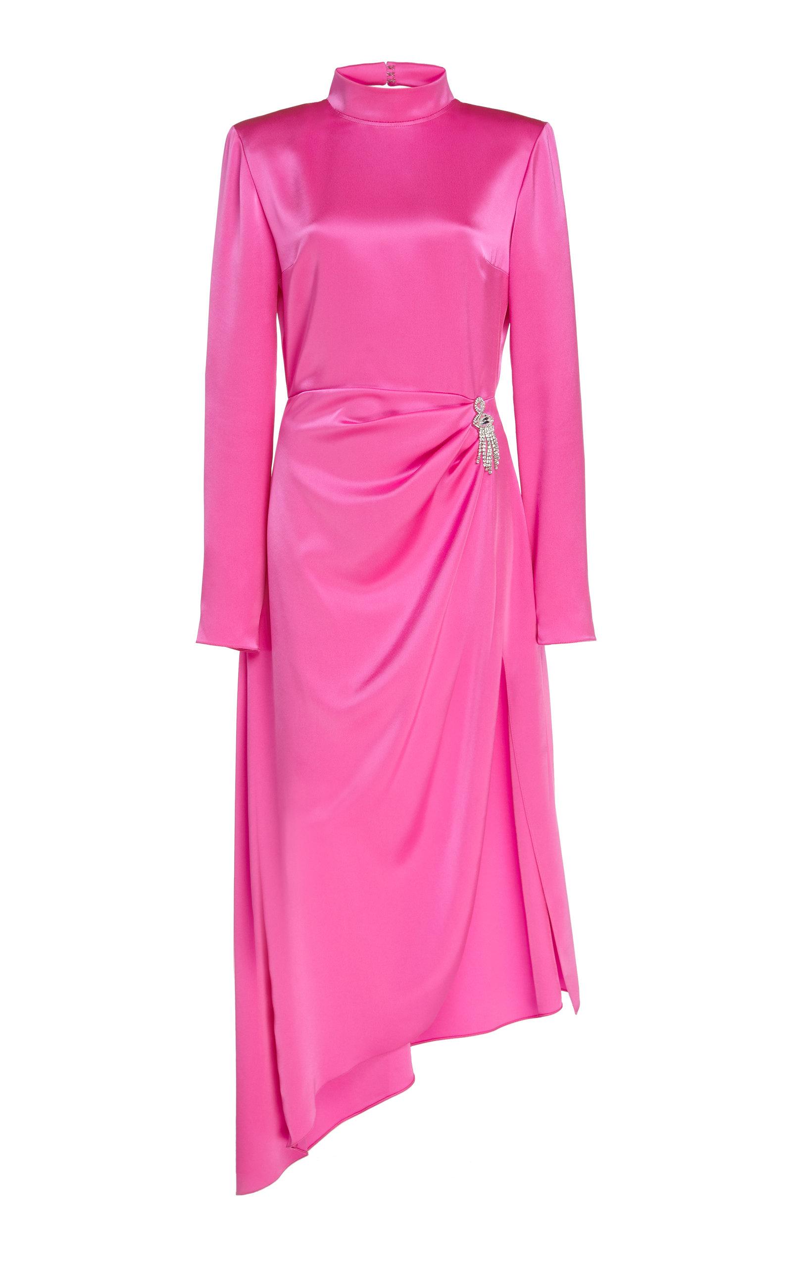 Buy David Koma Crystal Brooch Open-Back Satin Dress online, shop David Koma at the best price