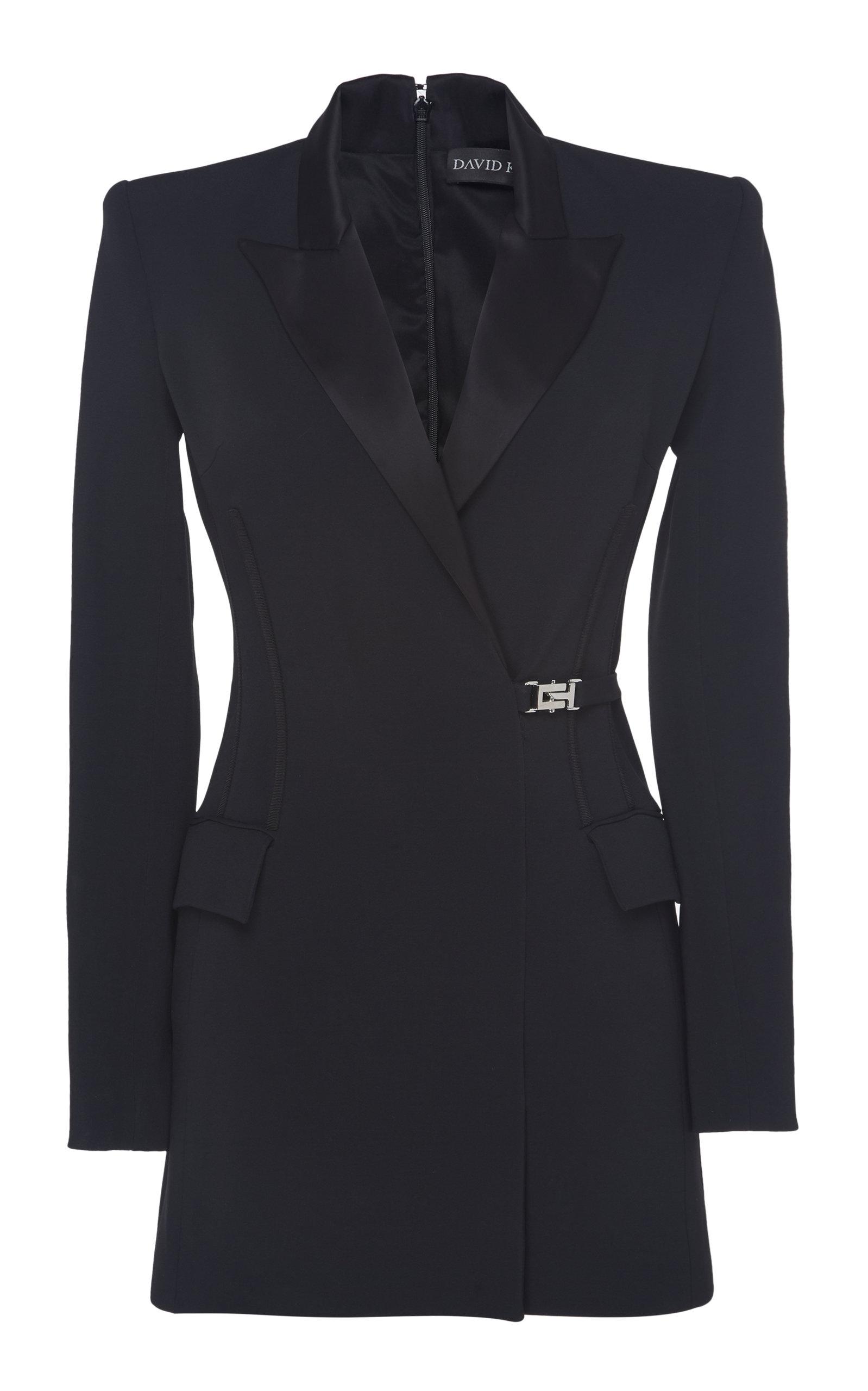 Buy David Koma Satin-Trimmed Buckled Mini Blazer Dress online, shop David Koma at the best price