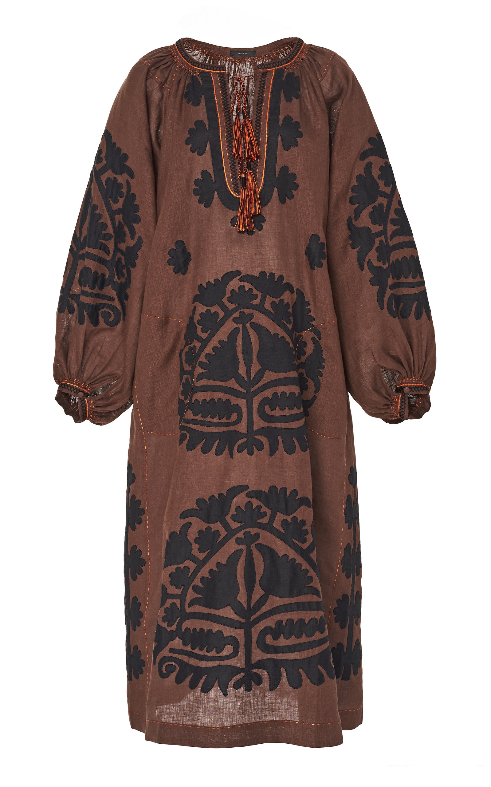 Buy Vita Kin Shalimar Appliquéd Embroidered Linen Midi Dress online, shop Vita Kin at the best price