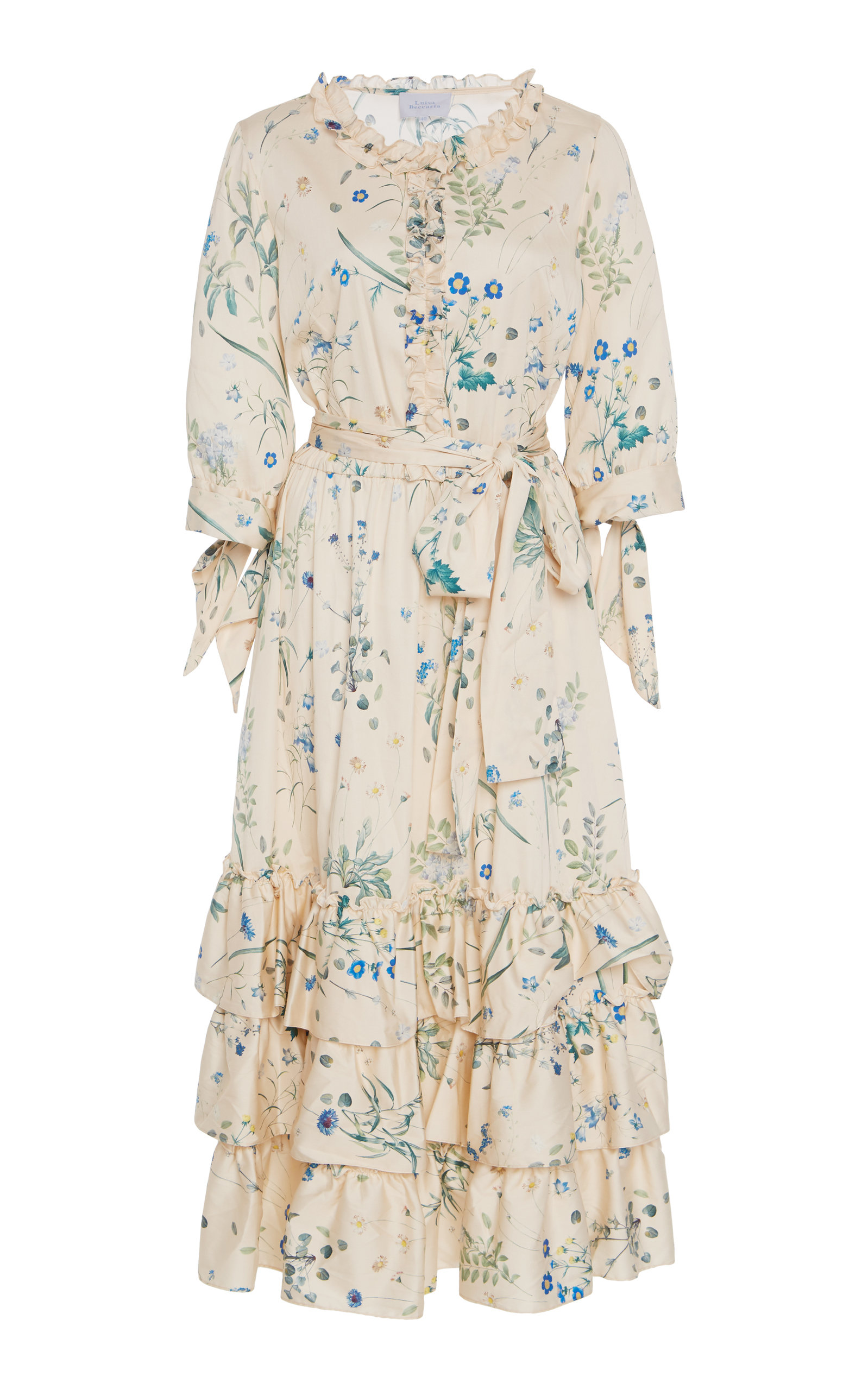 Buy Luisa Beccaria Ruffled Floral-Print Cotton-Blend Midi Dress online, shop Luisa Beccaria at the best price