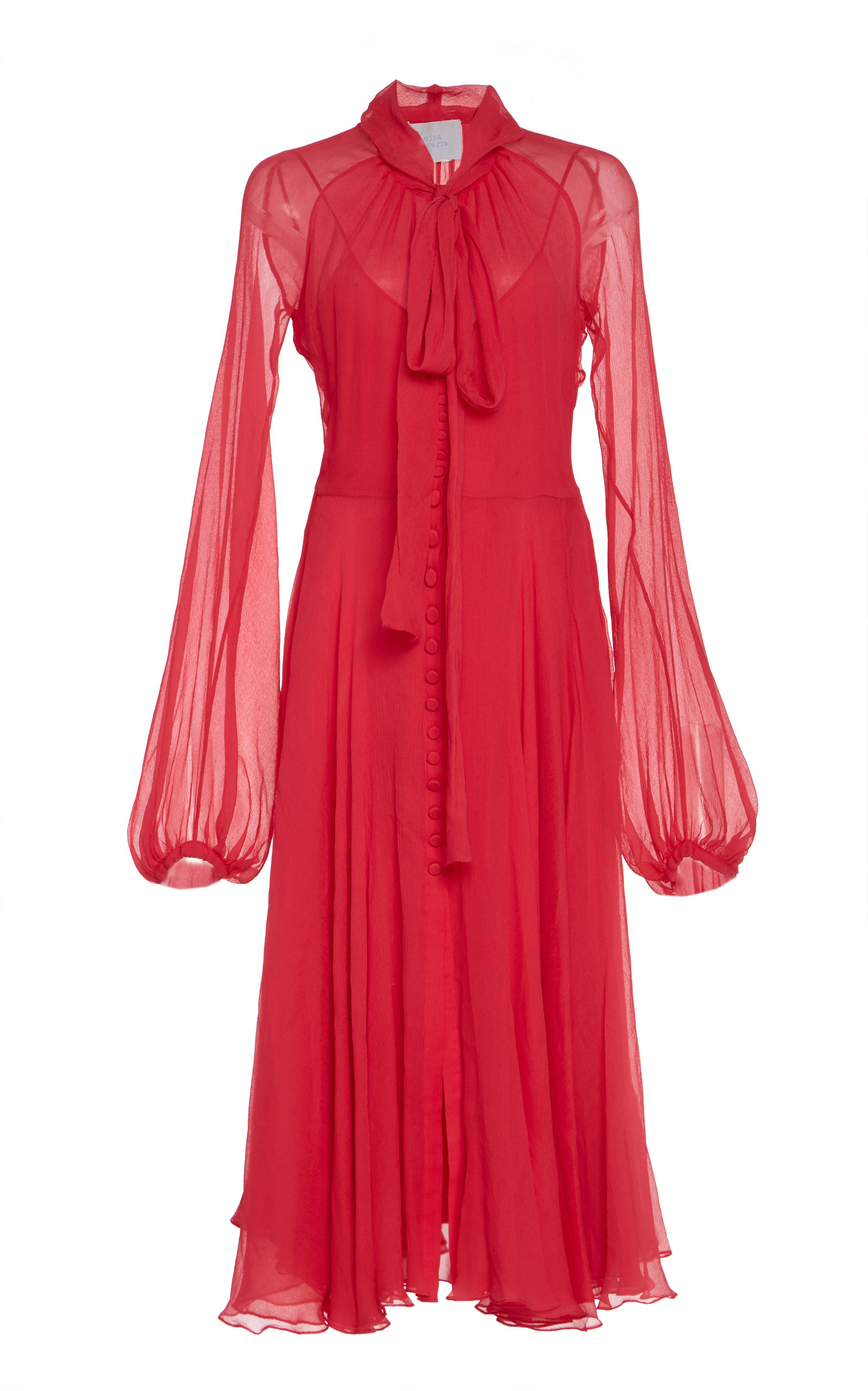 Buy Luisa Beccaria Pussy-Bow Silk-Chiffon Midi Dress online, shop Luisa Beccaria at the best price