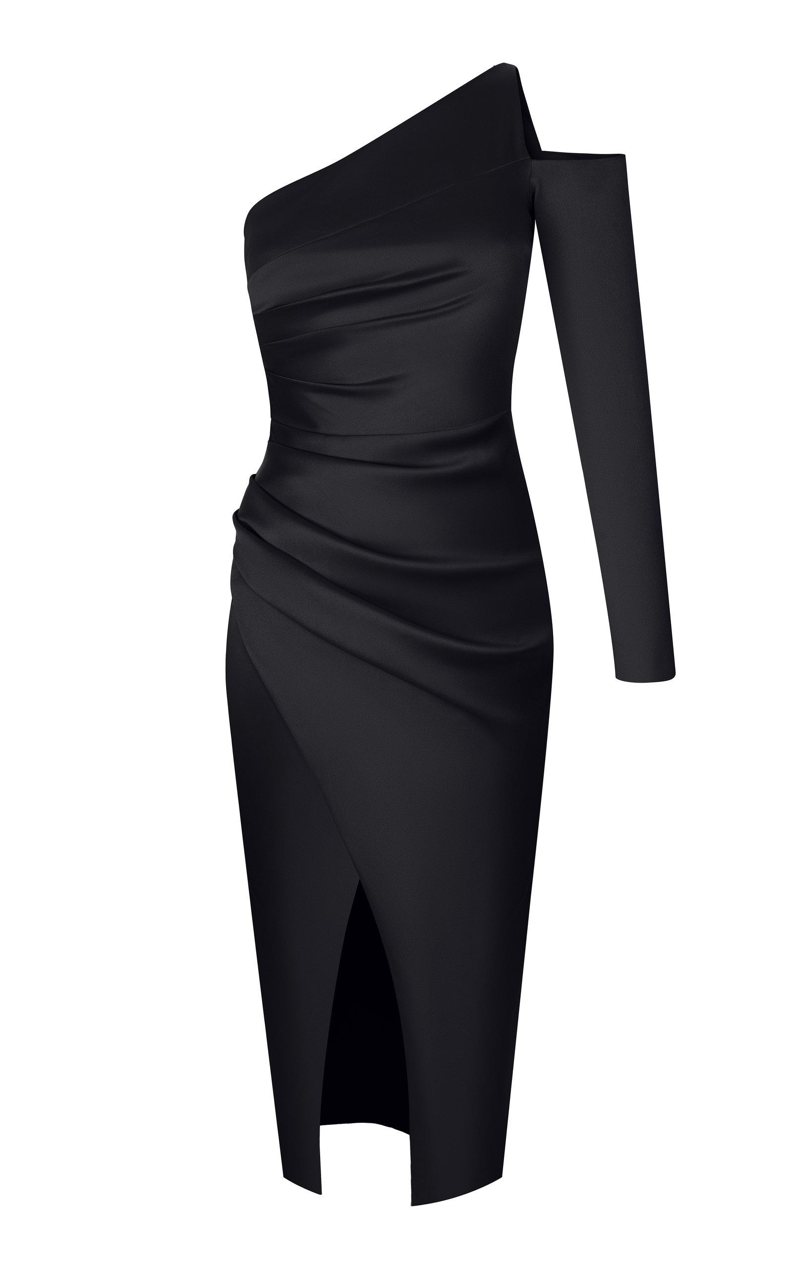Buy Rasario Asymmetrical Draped Satin Midi Dress online, shop Rasario at the best price