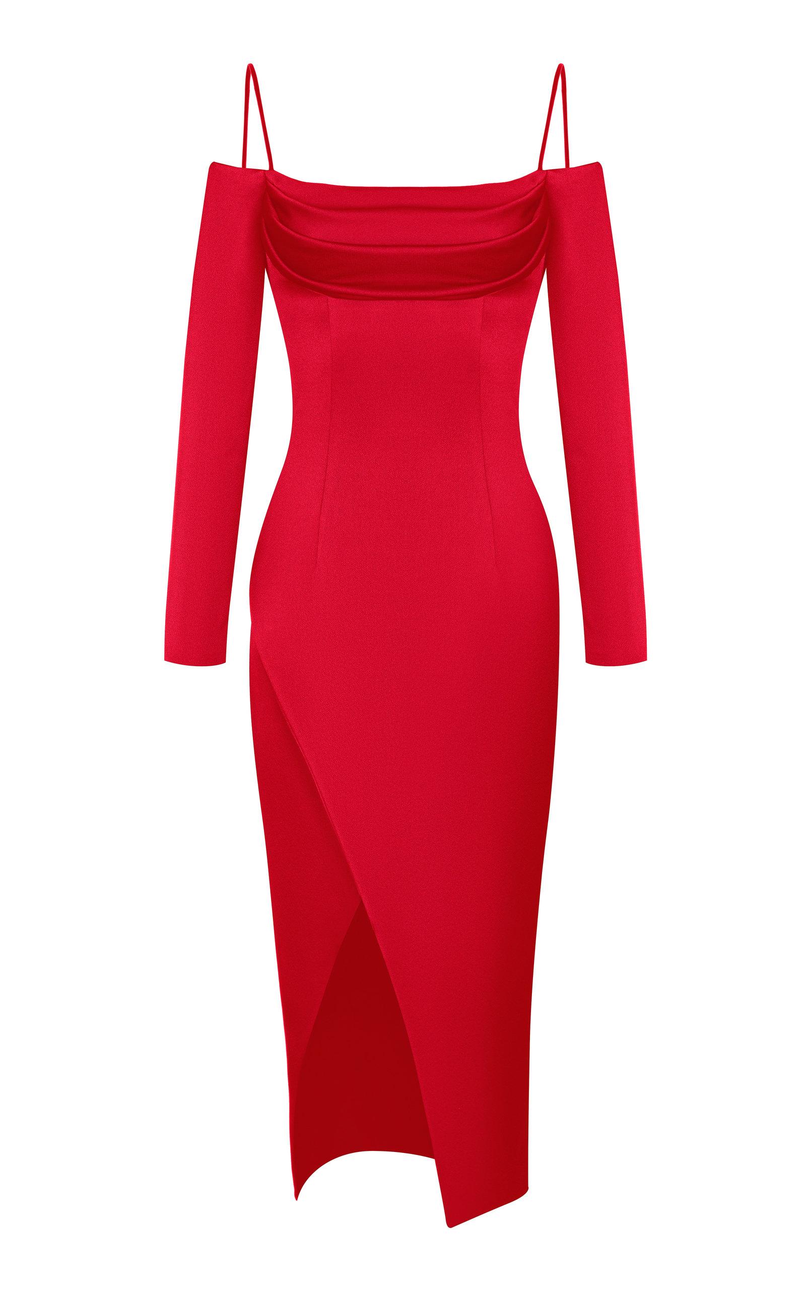 Buy Rasario Cold-Shoulder Satin Midi Dress online, shop Rasario at the best price