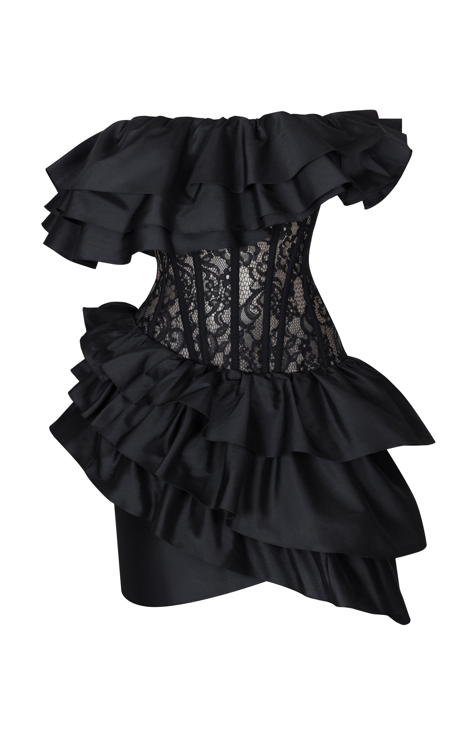 Buy Rasario Ruffled Silk And Lace Corset Mini Dress online, shop Rasario at the best price