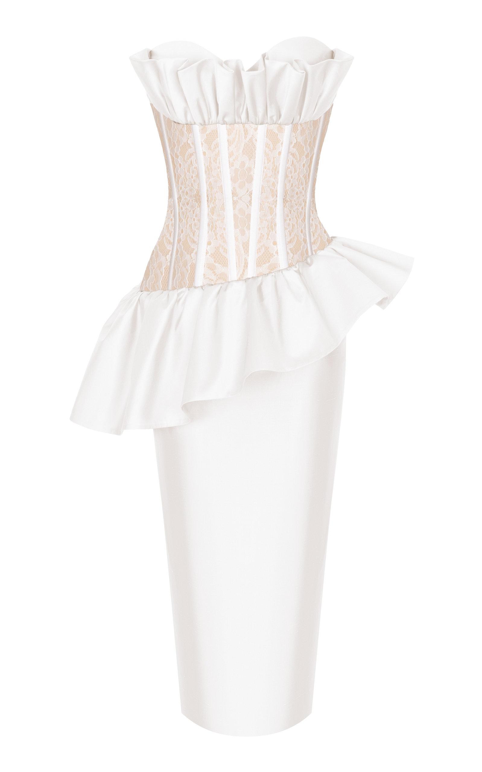 Buy Rasario Ruffle-Accented Silk And Lace Corset Midi Dress online, shop Rasario at the best price