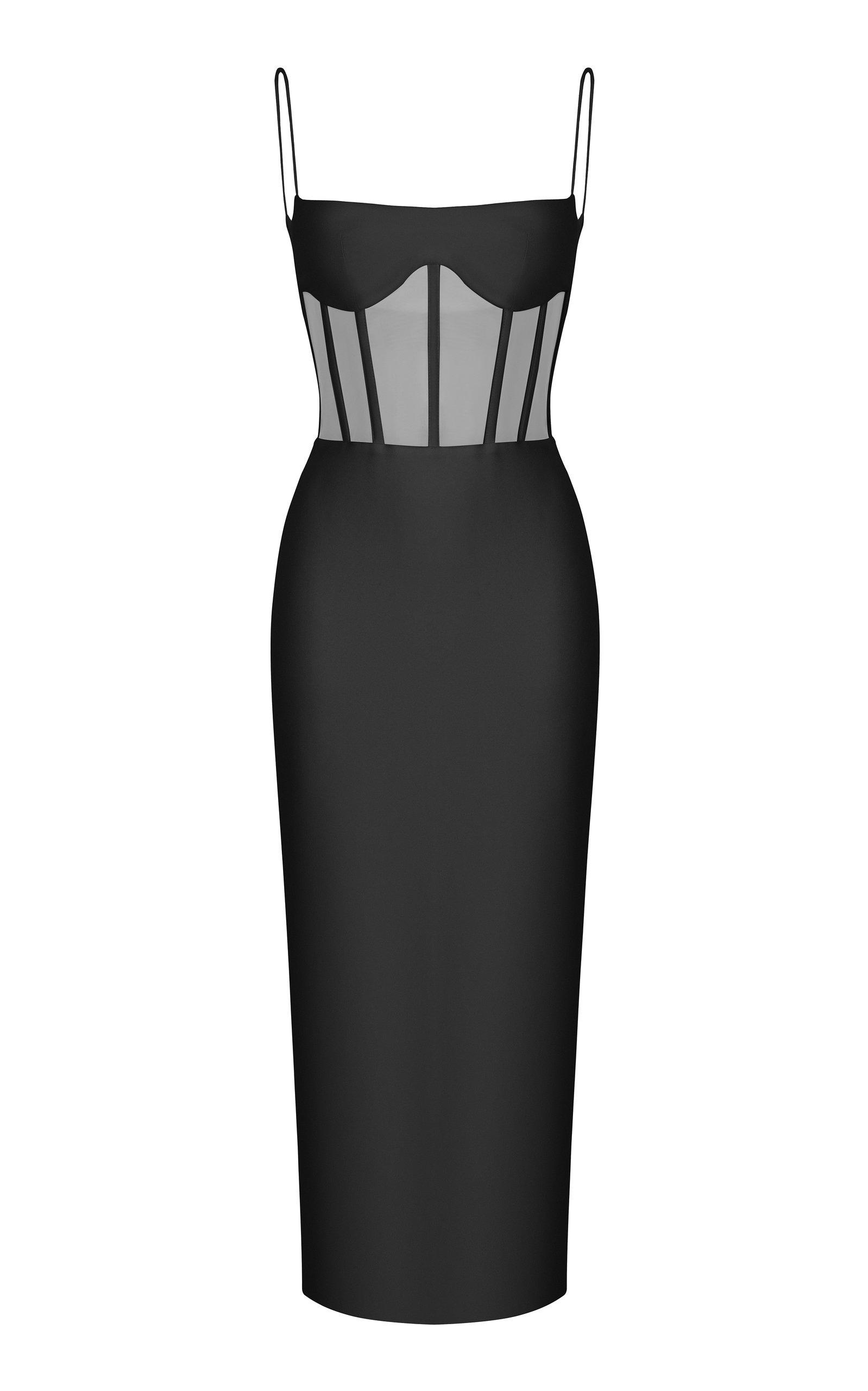 Buy Rasario Sleeveless Crepe Corset Midi Dress online, shop Rasario at the best price