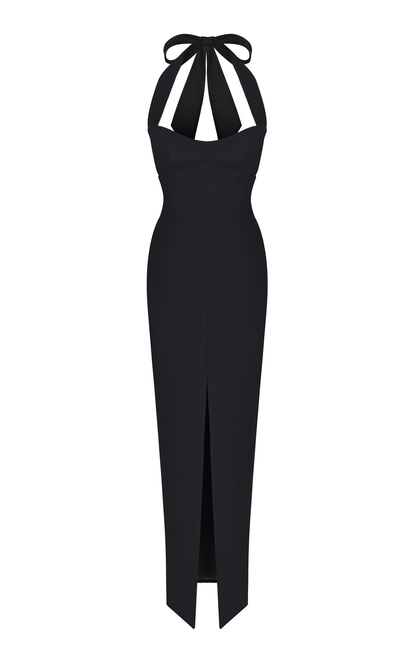 Buy Rasario Halterneck Crepe Maxi Dress online, shop Rasario at the best price