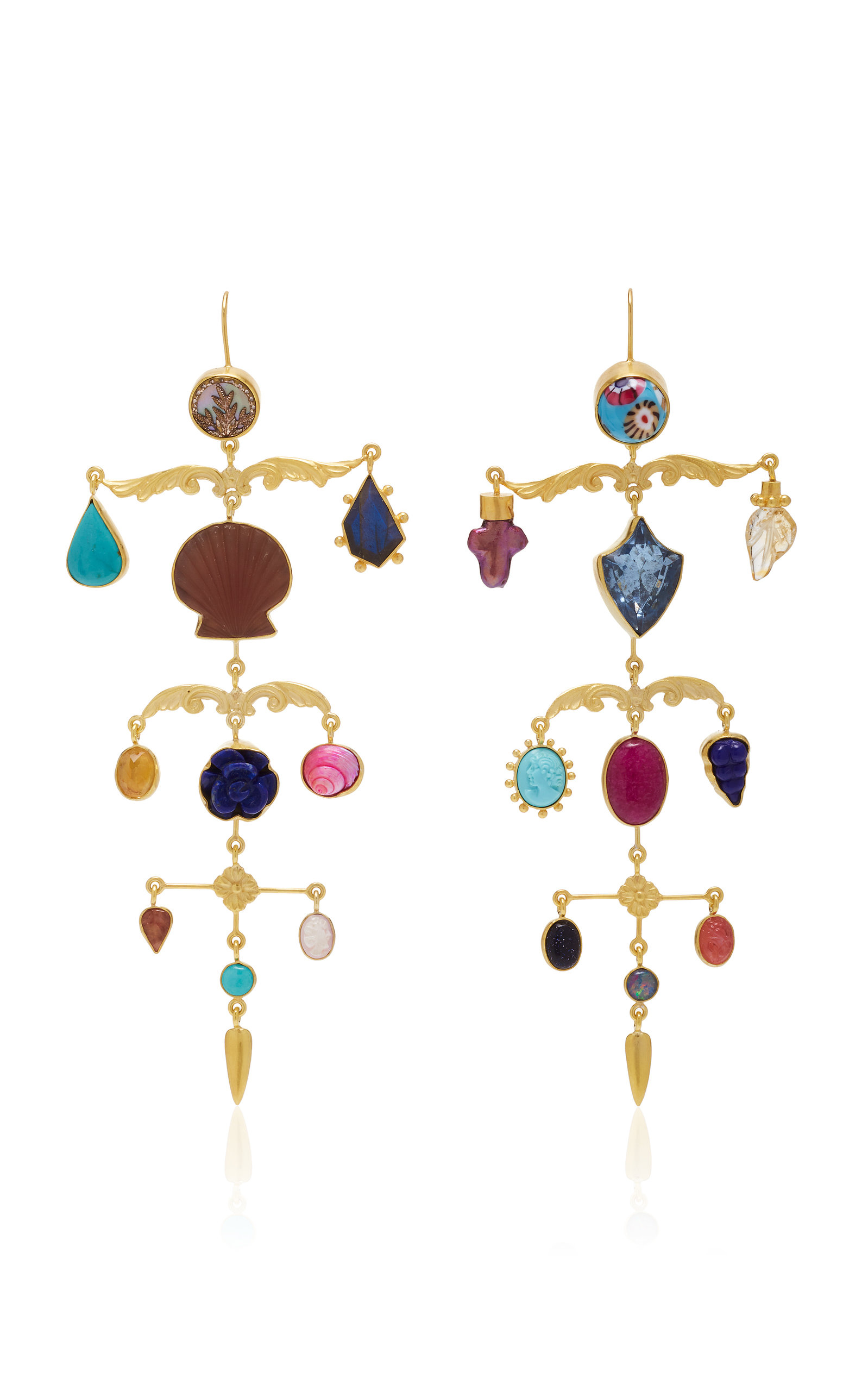 Women's Ornamental Scroll Gold-Plated And Multi-Stone Earrings