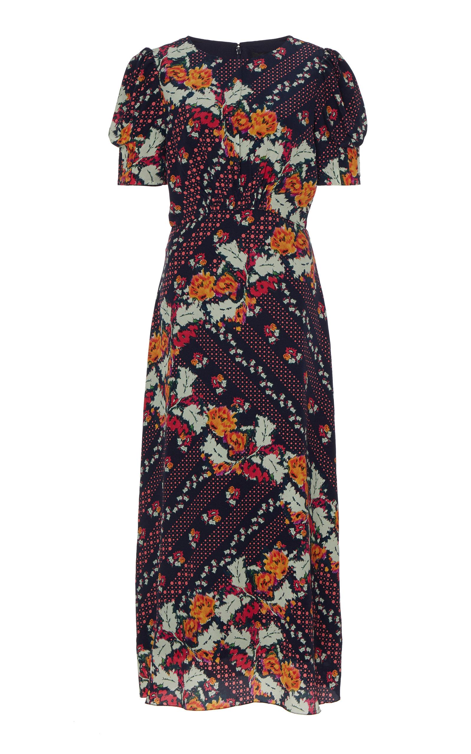 Buy Saloni Bianca Printed Silk-Georgette Midi Dress online, shop Saloni at the best price