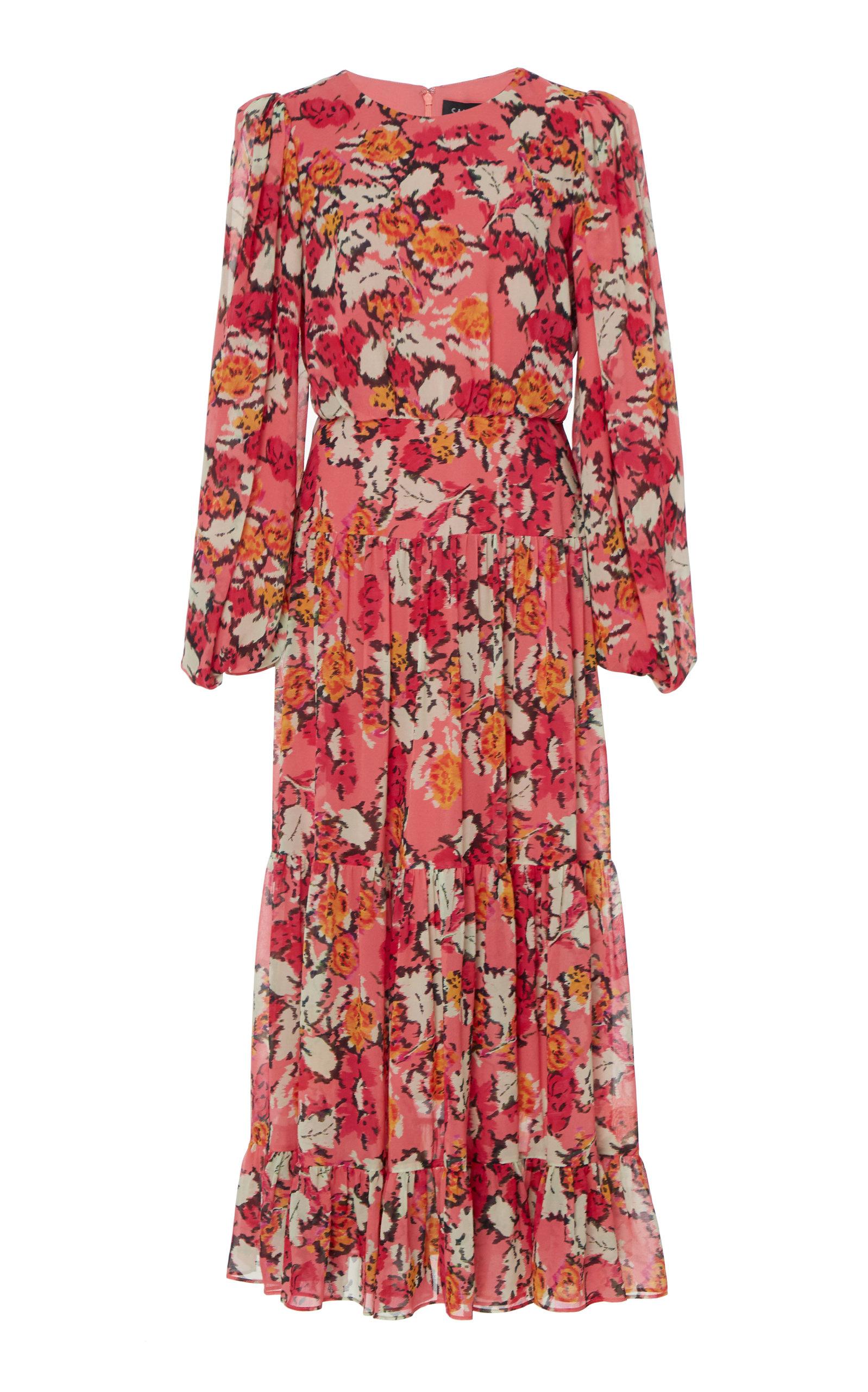 Buy Saloni Isabel D Printed Silk-Georgette Midi Dress online, shop Saloni at the best price