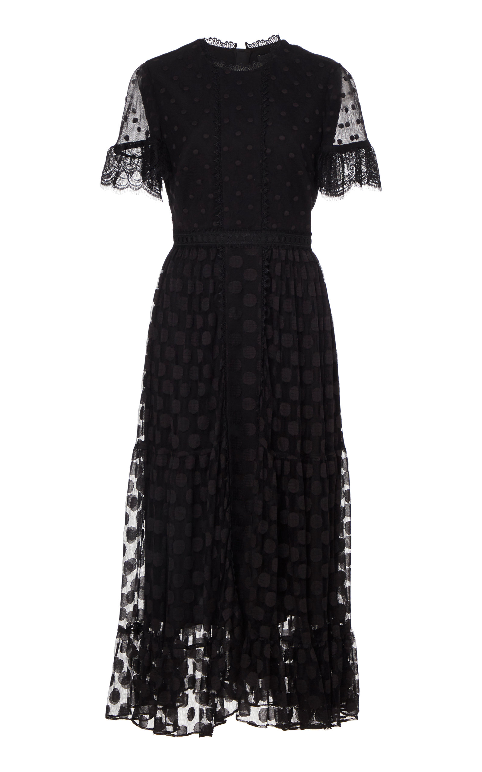 Buy Saloni Andie Polka-Dot Georgette Midi Dress online, shop Saloni at the best price