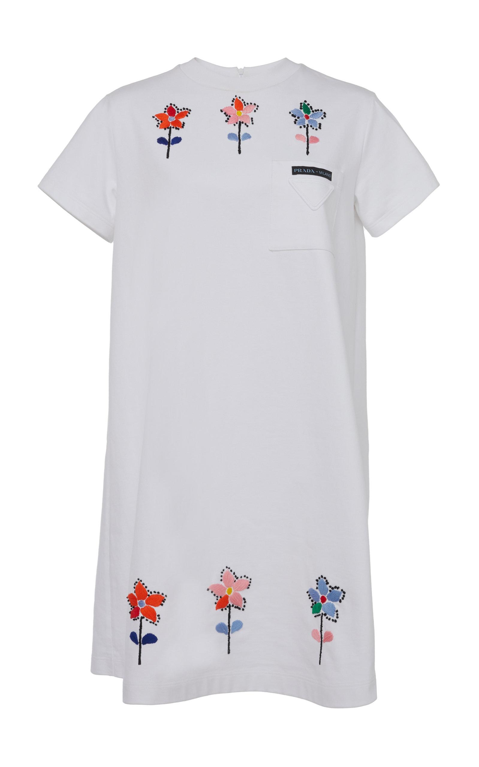 Buy Prada Embroidered Cotton Mini T-Shirt Dress online, shop Prada at the best price