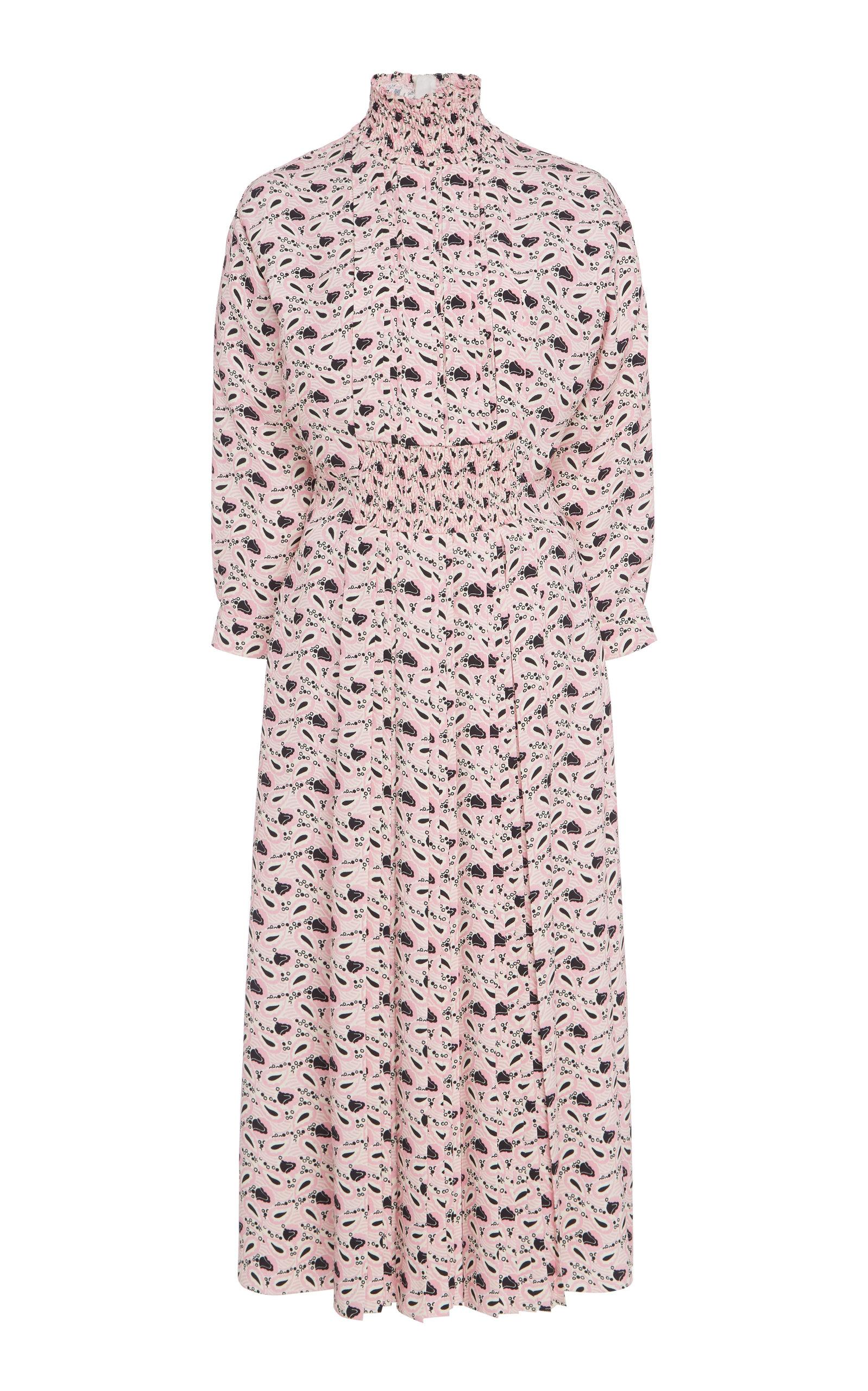 Buy Prada Smocked Printed Crepe Midi Dress online, shop Prada at the best price