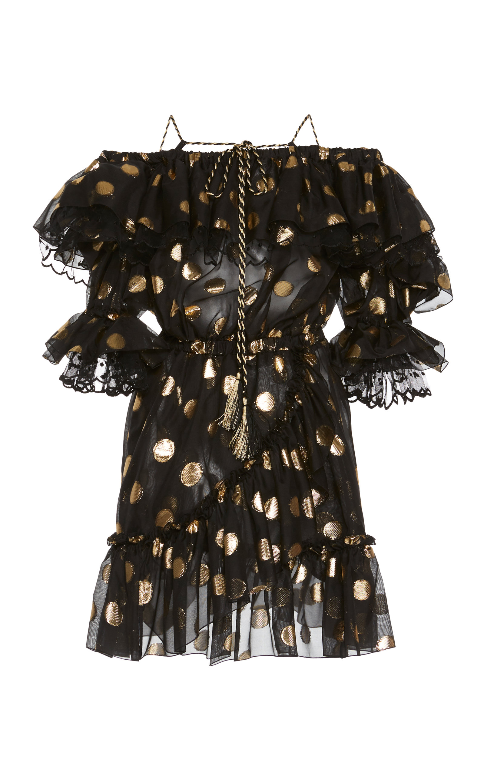 Buy Dundas Off-The-Shoulder Ruffled Fil Coupé Chiffon Mini Dress online, shop Dundas at the best price