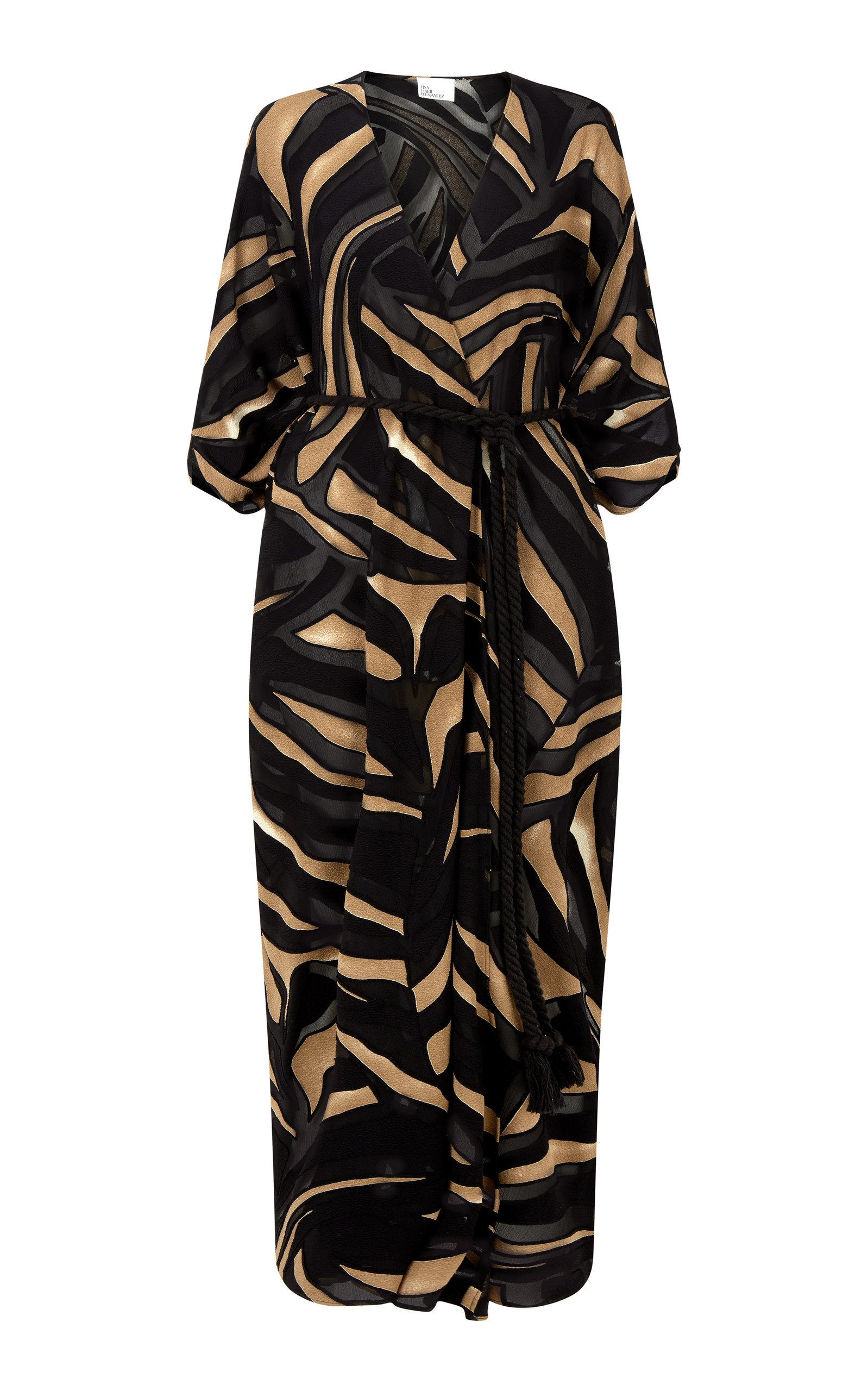 Buy Lisa Marie Fernandez Adwoa Zebra-Print Devore Caftan Dress online, shop Lisa Marie Fernandez at the best price