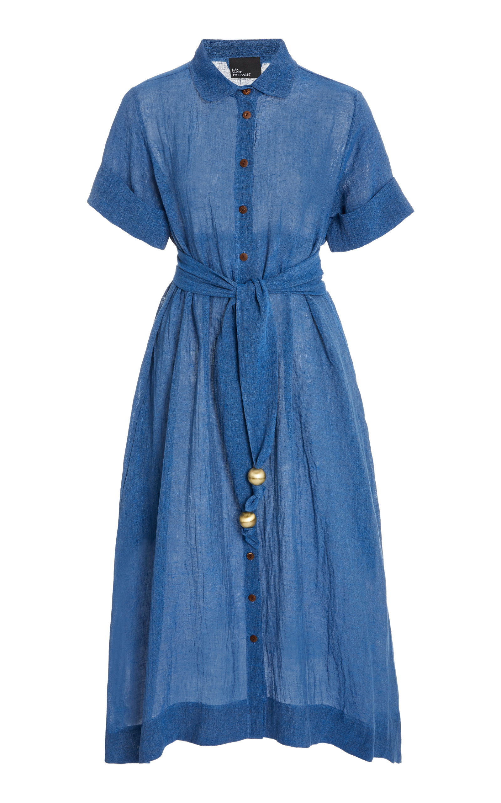 Buy Lisa Marie Fernandez Collared Classic Denim Shirt Dress online, shop Lisa Marie Fernandez at the best price