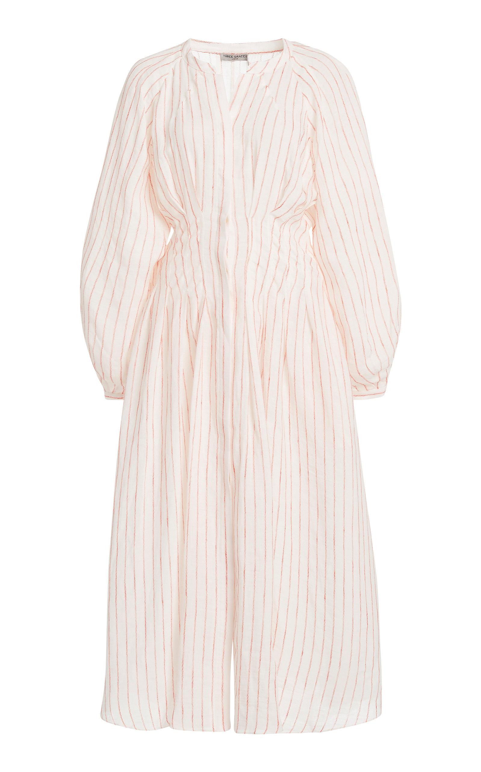 Buy Three Graces London Valeraine Striped Linen Midi Dress online, shop Three Graces London at the best price