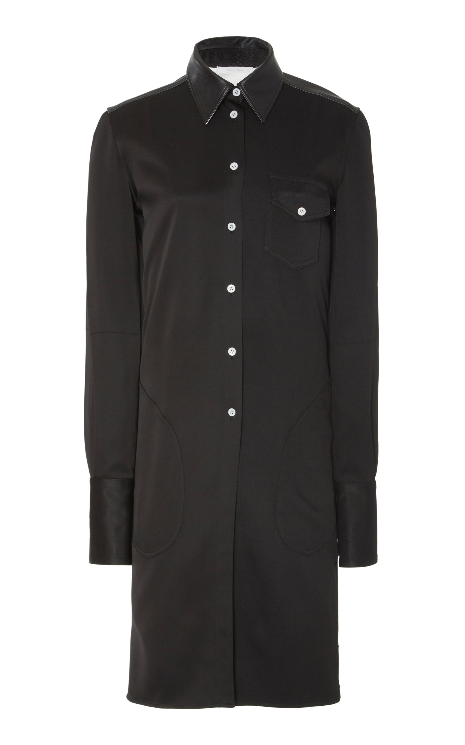 Buy Peter Do Leather-Trimmed Satin-Twill Shirt-Dress online, shop Peter Do at the best price