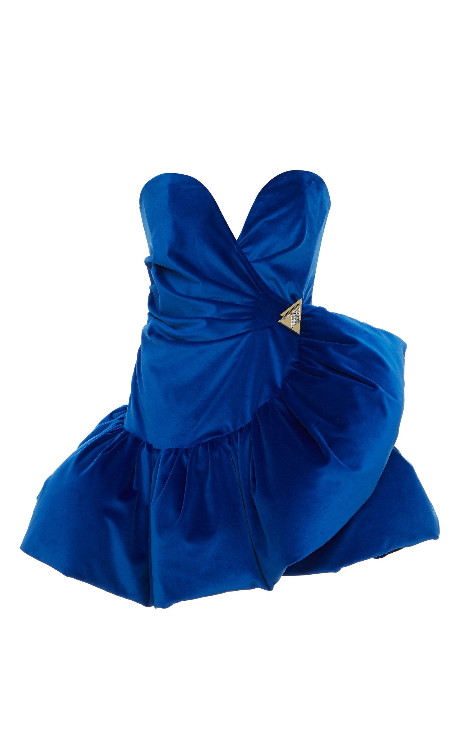 Buy The Attico Ruffled Velvet Mini Dress online, shop The Attico at the best price
