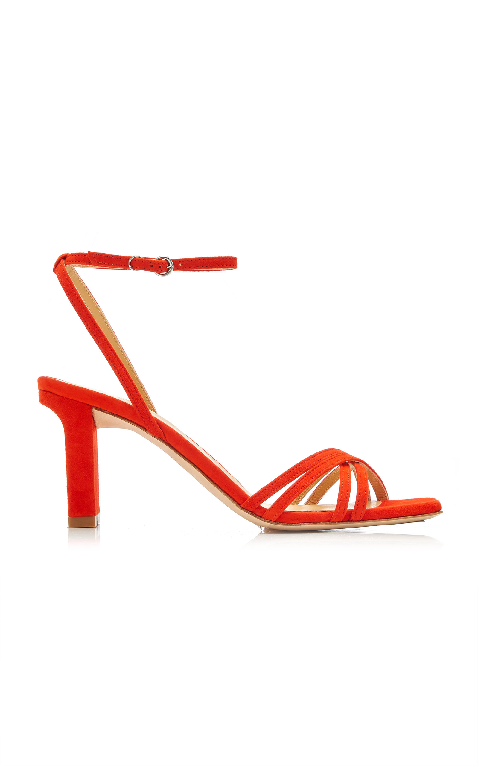 Aeyde ANNABELLE SNAKE-EFFECT SUEDE-LEATHER SANDALS