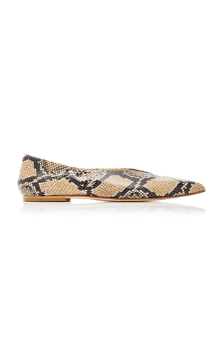 Aeyde MOA SNAKE-EFFECT LEATHER FLATS