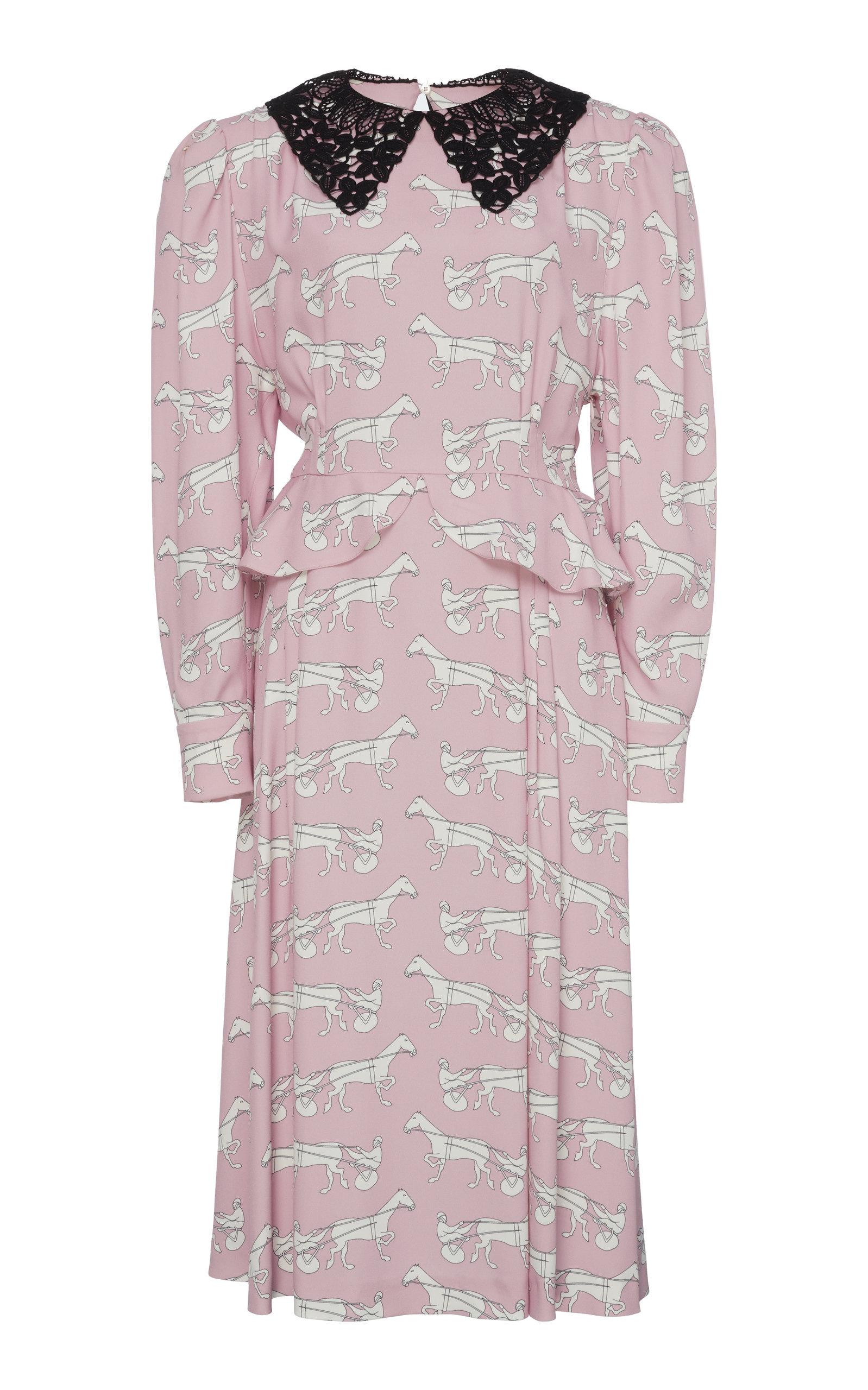 Buy Miu Miu Printed Collared Midi Dress online, shop Miu Miu at the best price