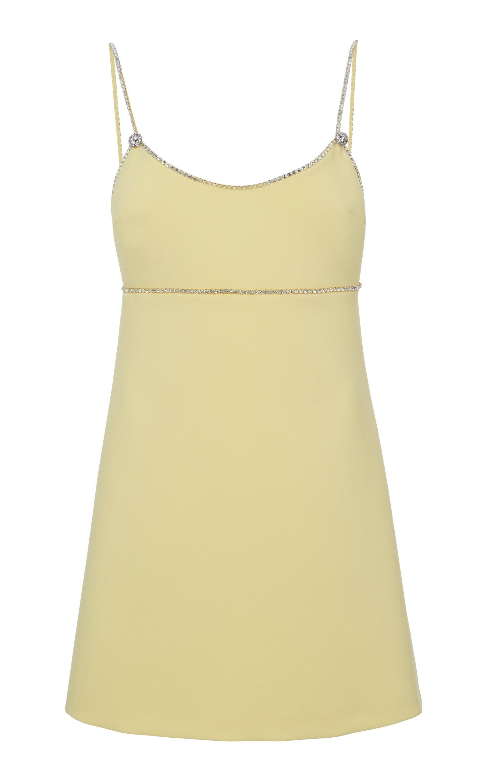 Buy Miu Miu Crystal Embellished Cady Mini Dress online, shop Miu Miu at the best price