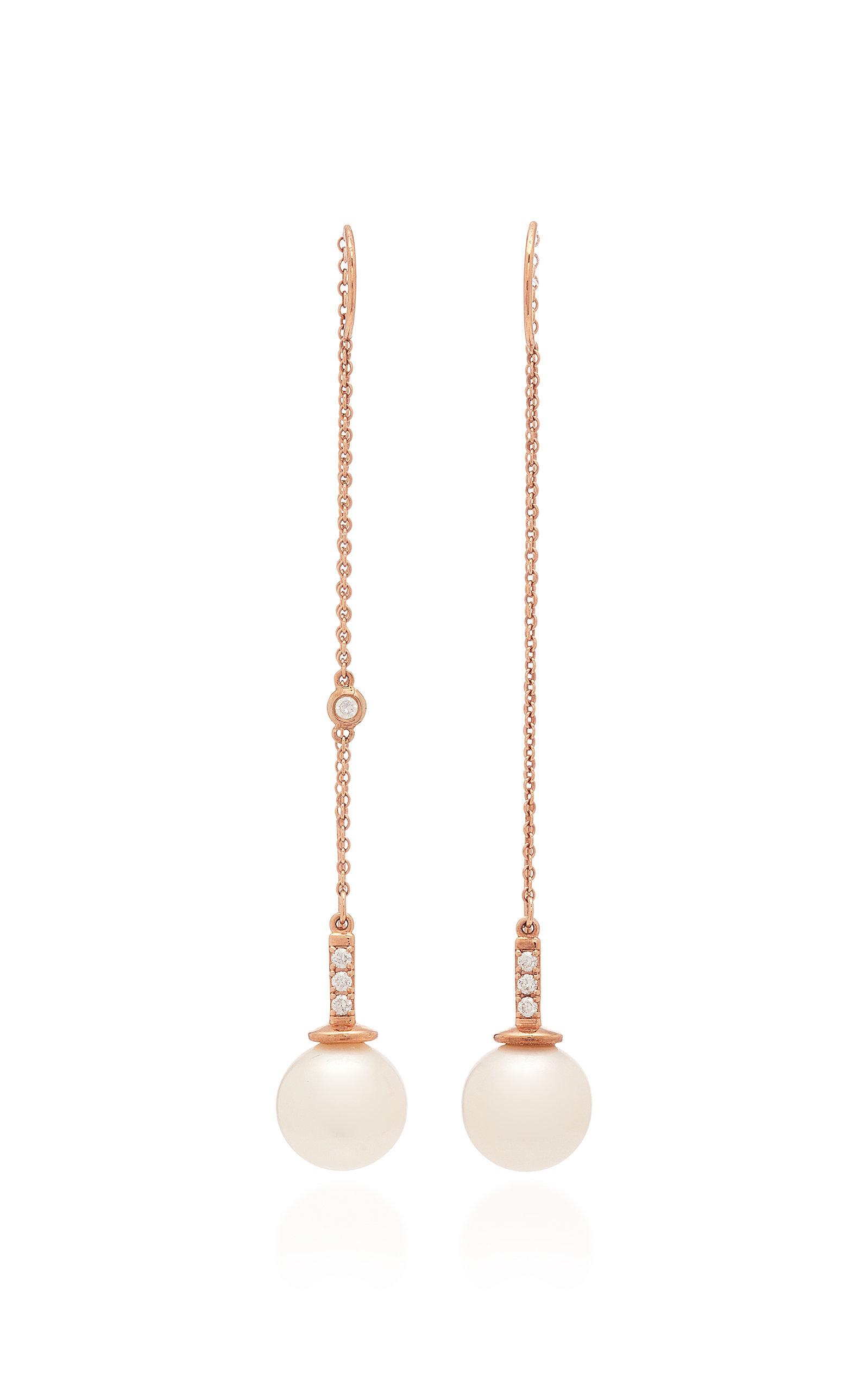 Women's 14K Gold; Diamond and Pearl Earrings