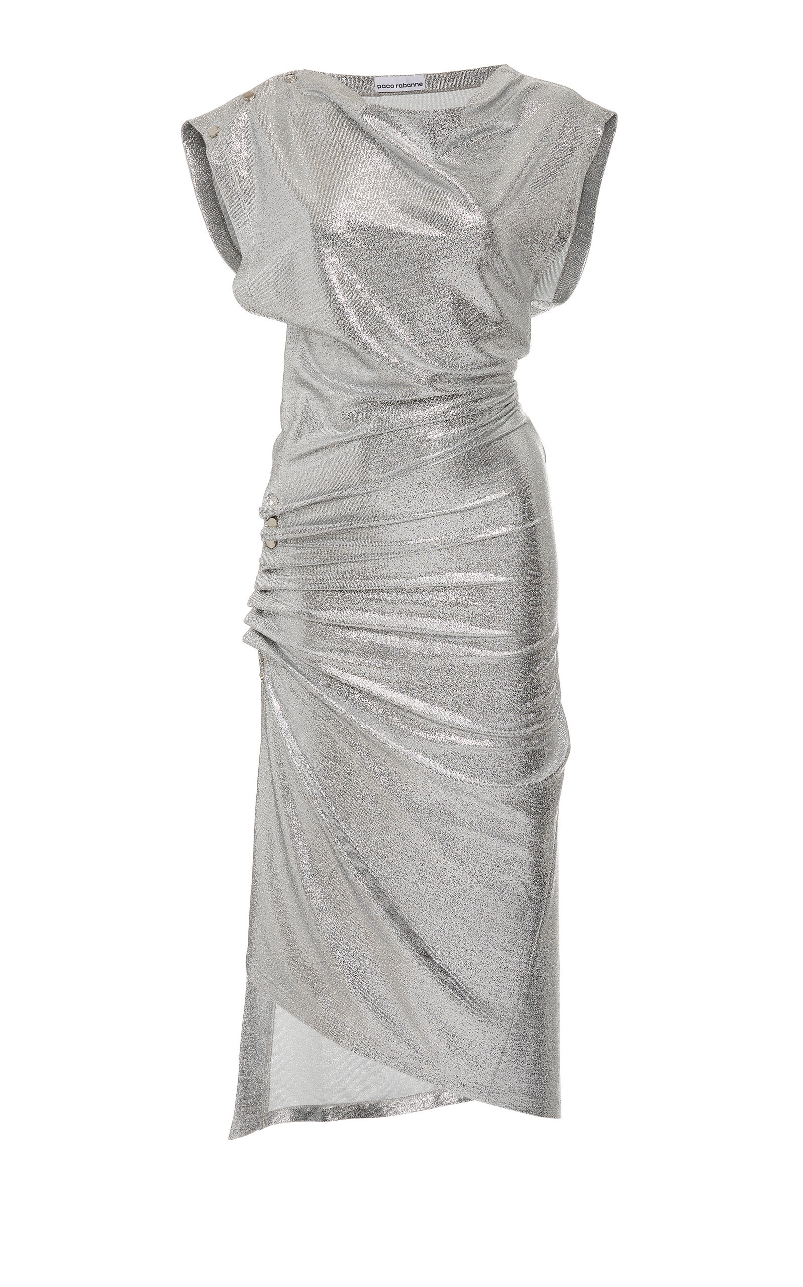 Buy Paco Rabanne Draped Metallic Midi Dress online, shop Paco Rabanne at the best price