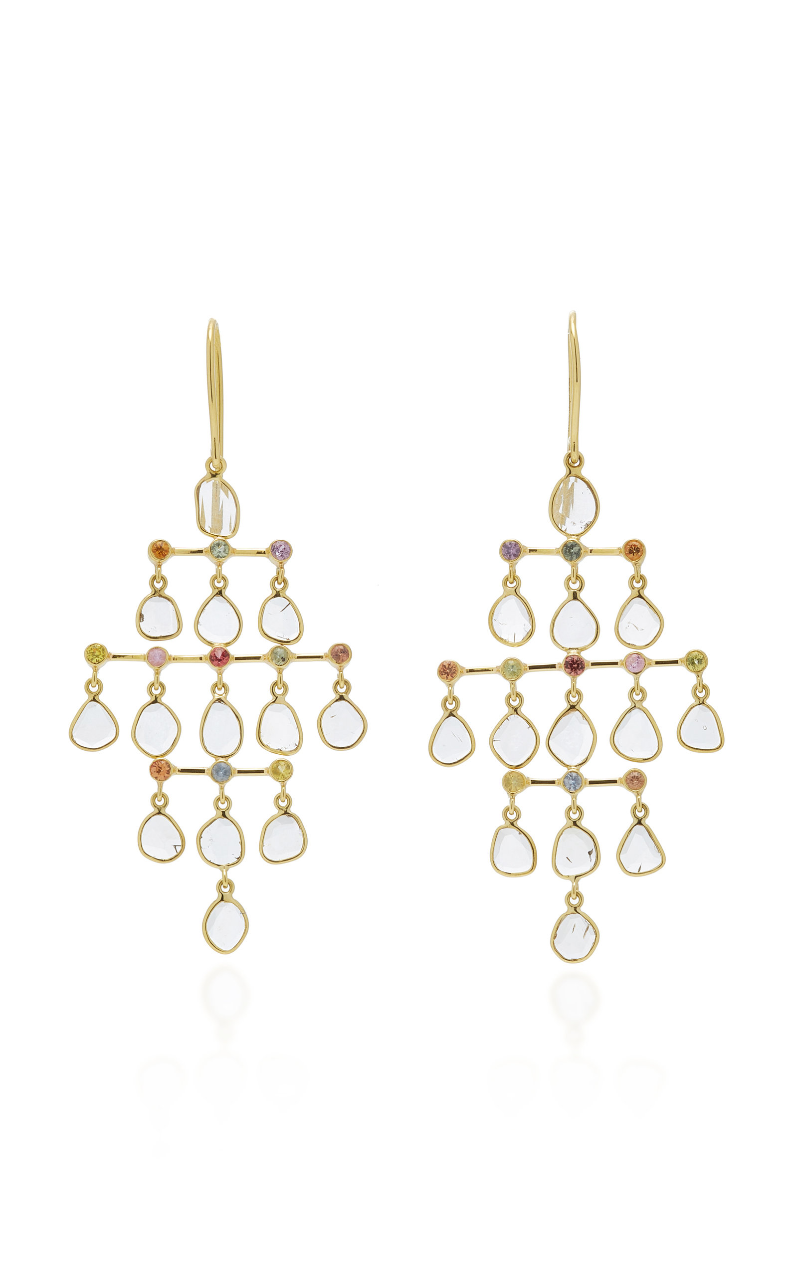 Women's Polki 18K Gold; Diamond And Sapphire Earrings
