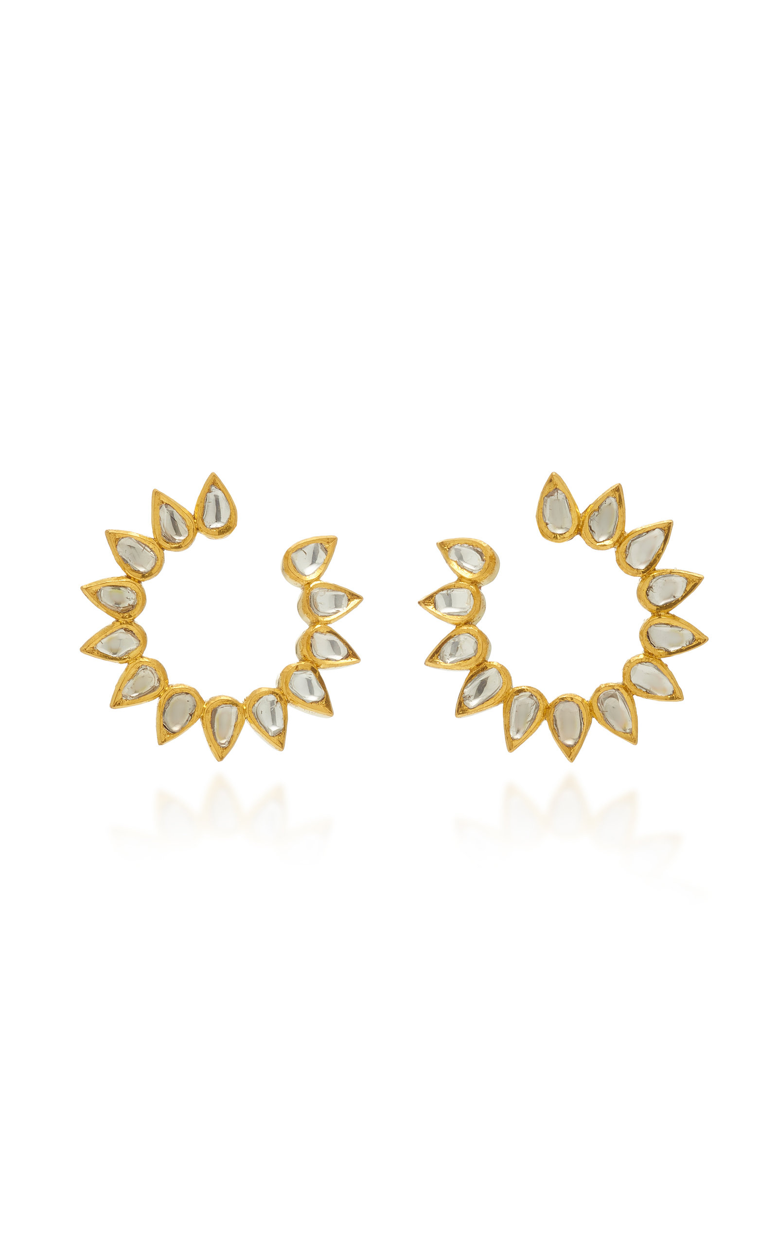 Women's Kundan 18K Gold And Diamond Earrings