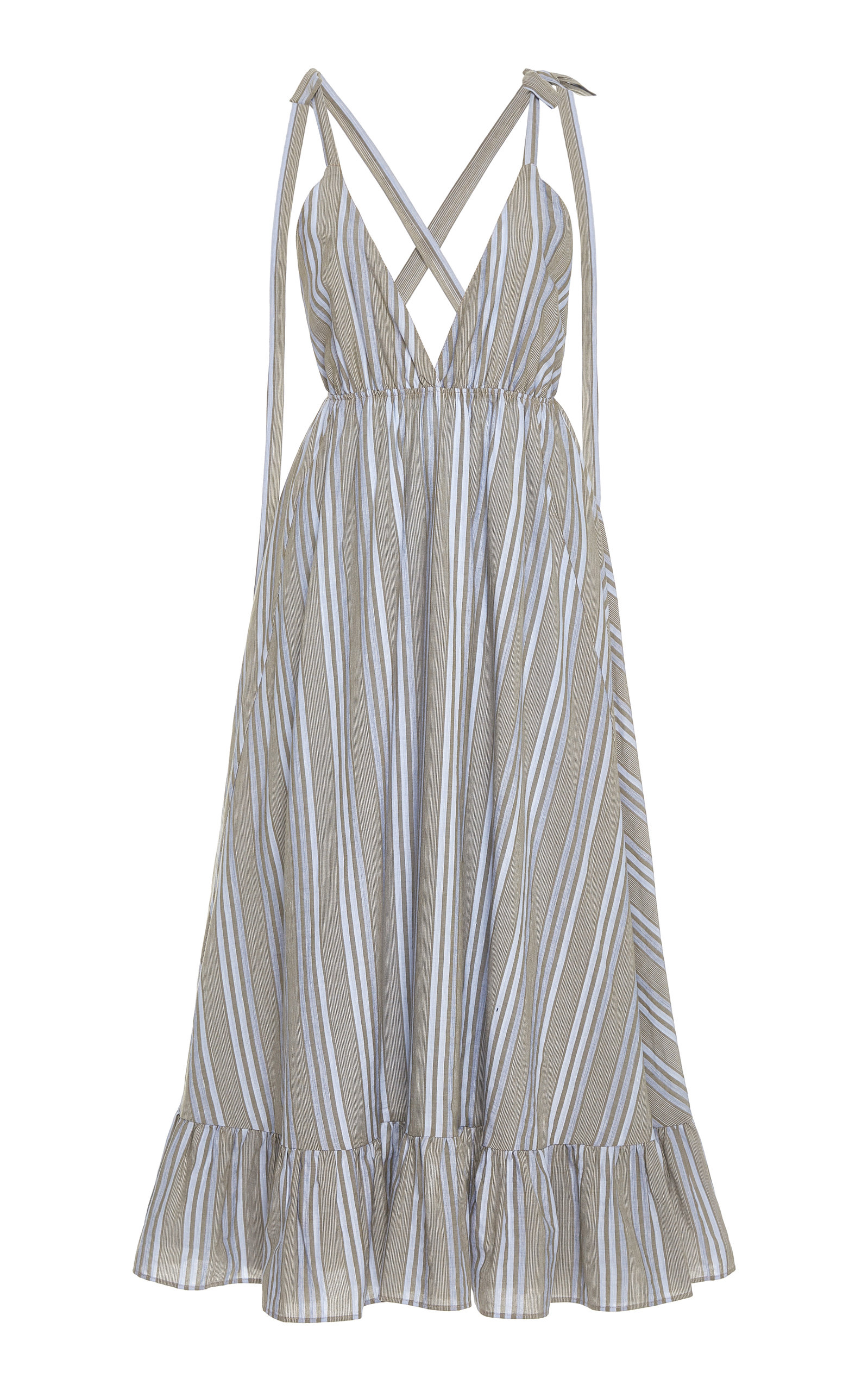 Buy Loup Charmant Amalfi Ruffled Striped Cotton-Poplin Midi Dress online, shop Loup Charmant at the best price