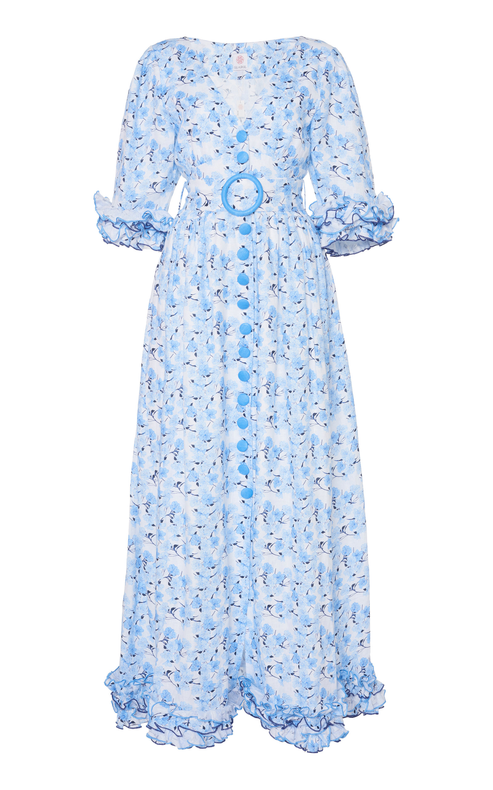Buy Gül Hürgel Belted Ruffled Floral-Print Linen Maxi Dress online, shop Gül Hürgel at the best price