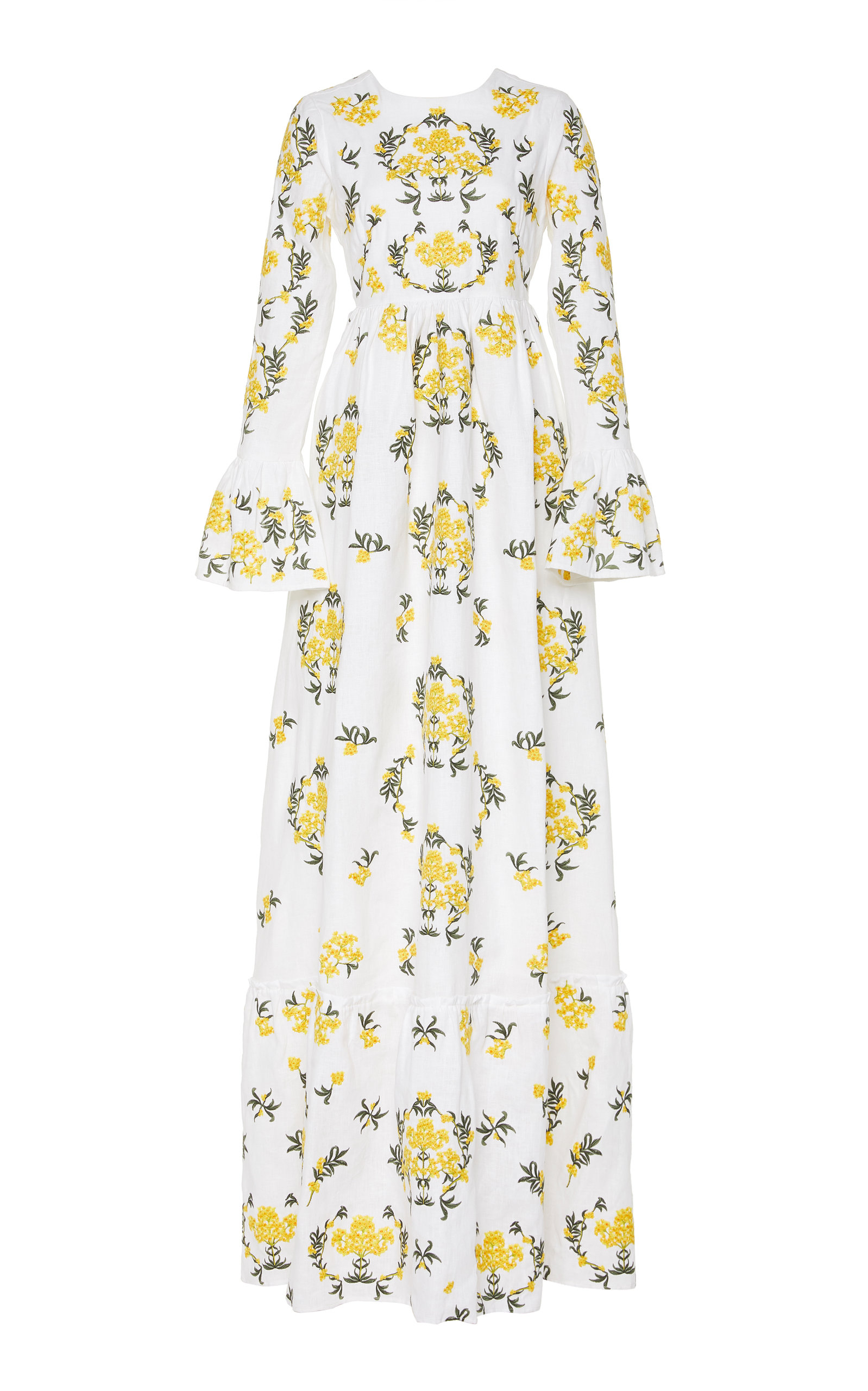 Buy Agua by Agua Bendita Papaya Embroidered Linen Maxi Dress online, shop Agua by Agua Bendita at the best price