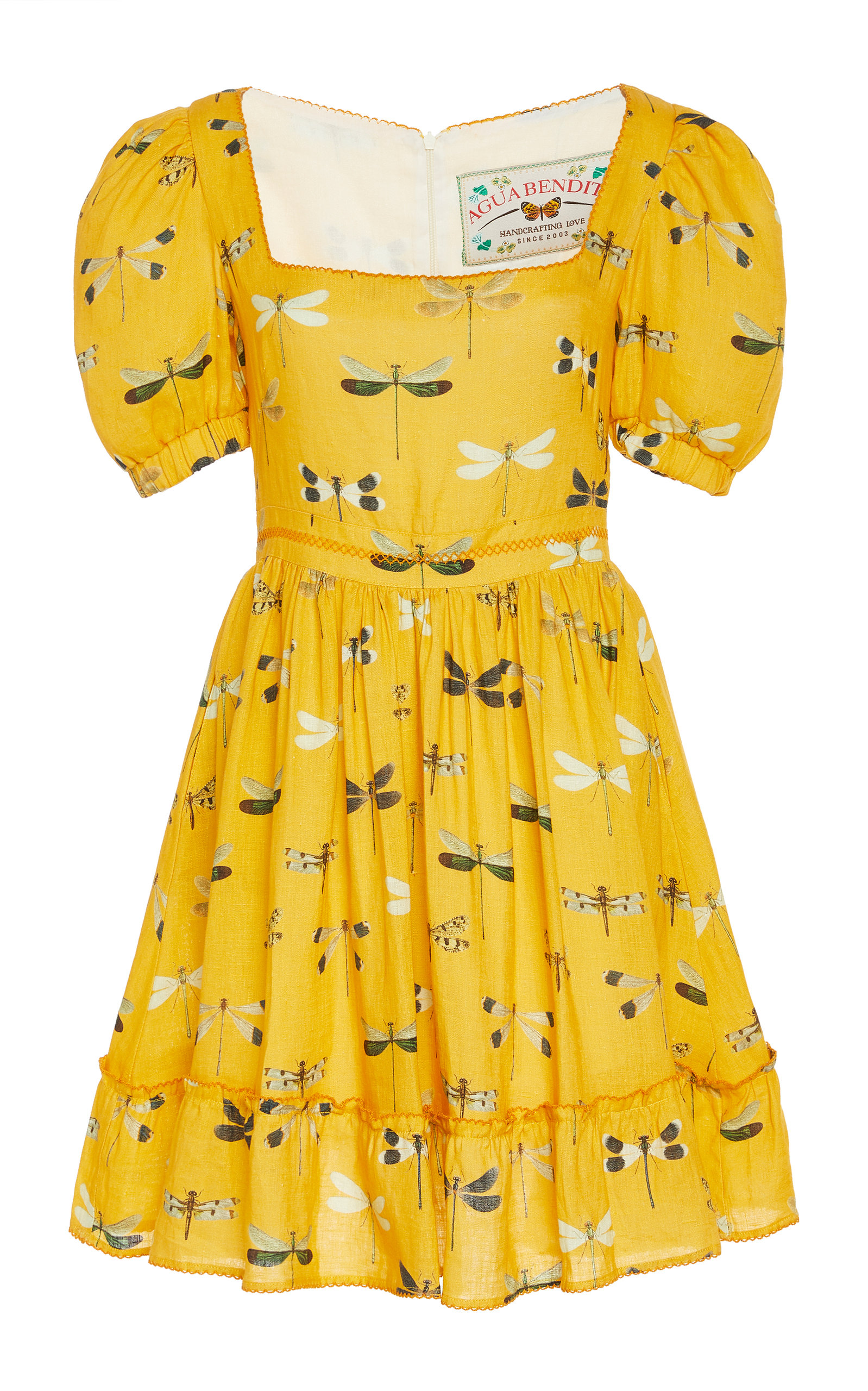Buy Agua by Agua Bendita Pomelo Printed Linen Mini Dress online, shop Agua by Agua Bendita at the best price