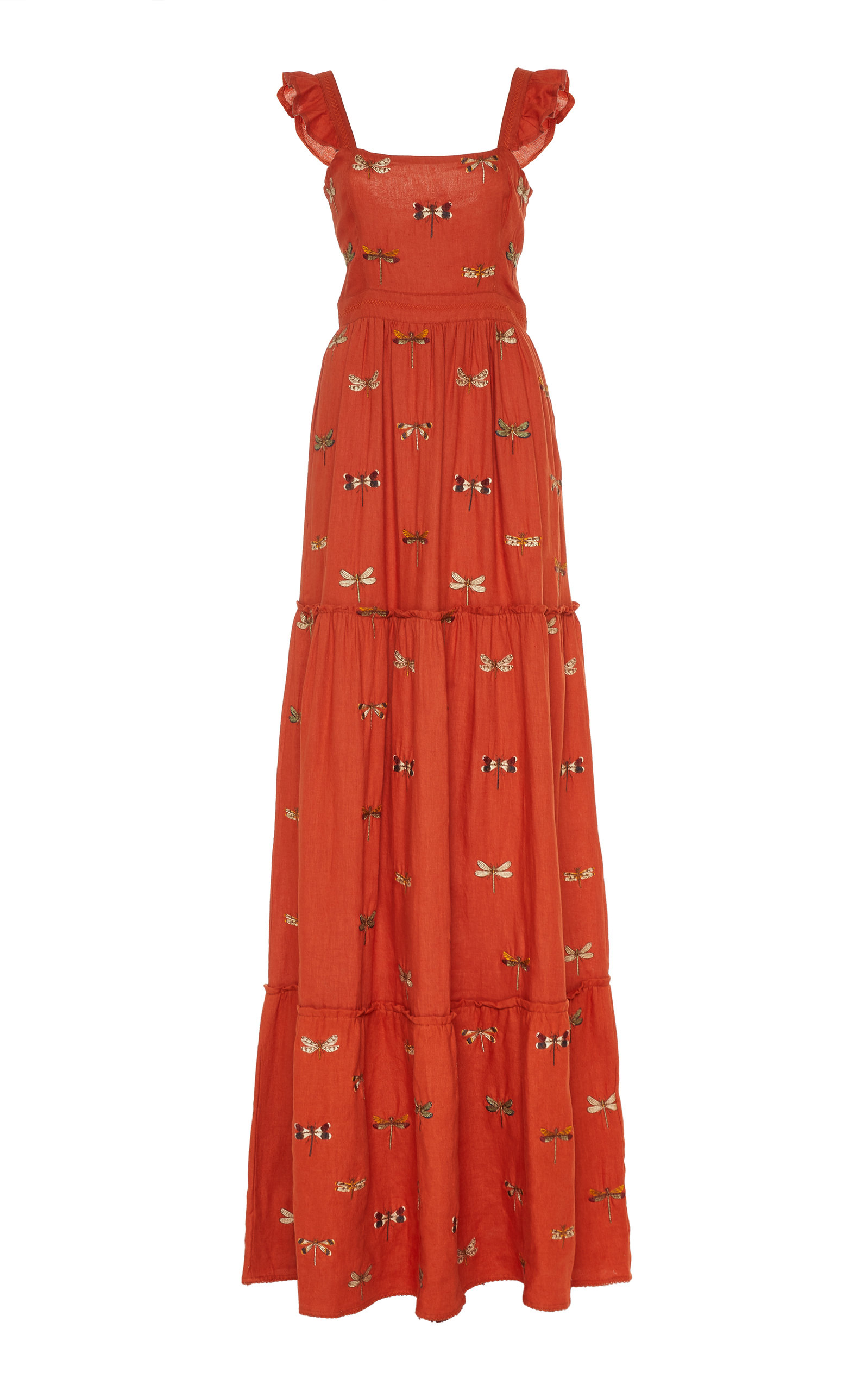 Buy Agua by Agua Bendita Herbarium Embroidered Linen Maxi Dress online, shop Agua by Agua Bendita at the best price