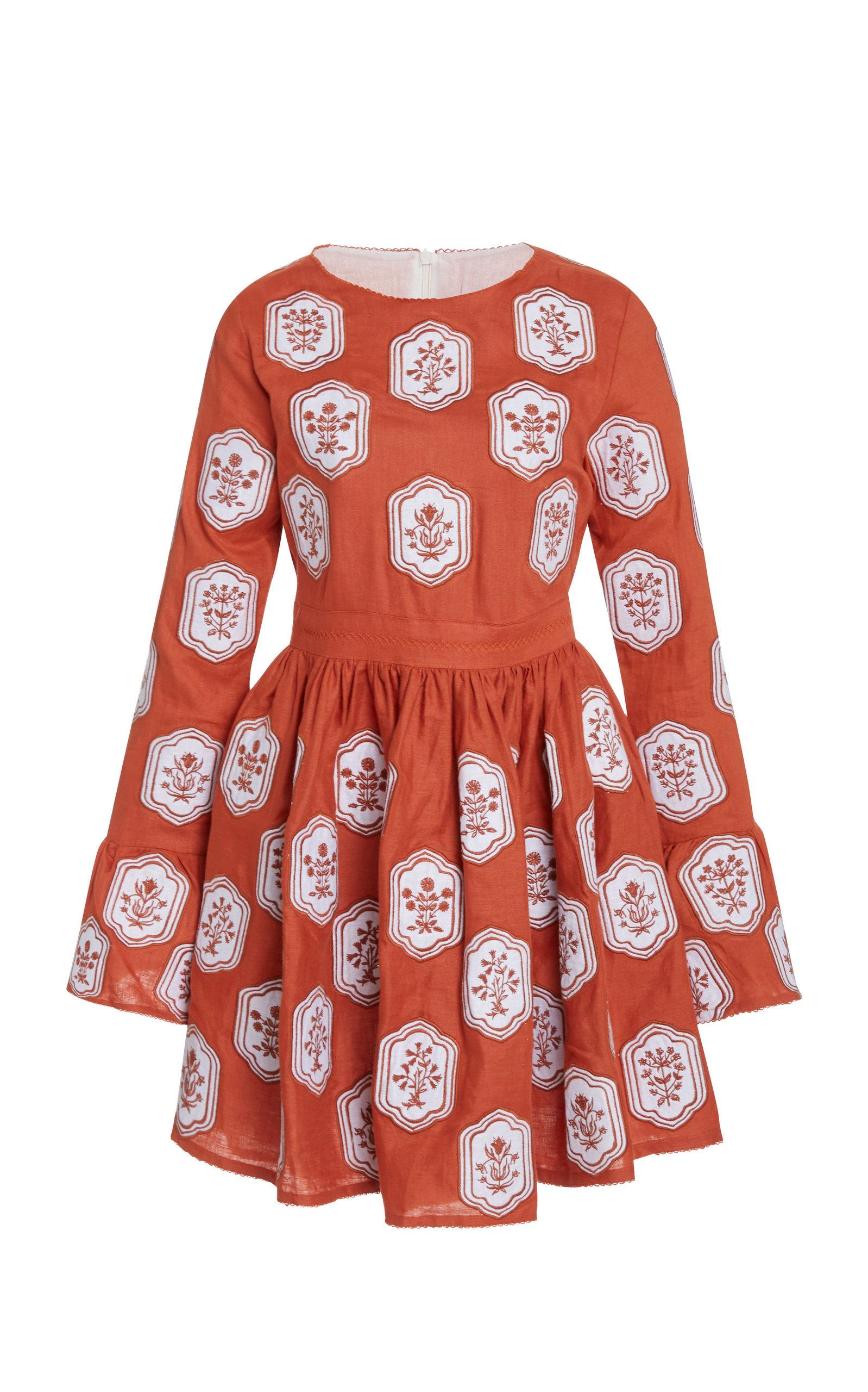 Buy Agua by Agua Bendita Curuba Embroidered Linen Mini Dress online, shop Agua by Agua Bendita at the best price