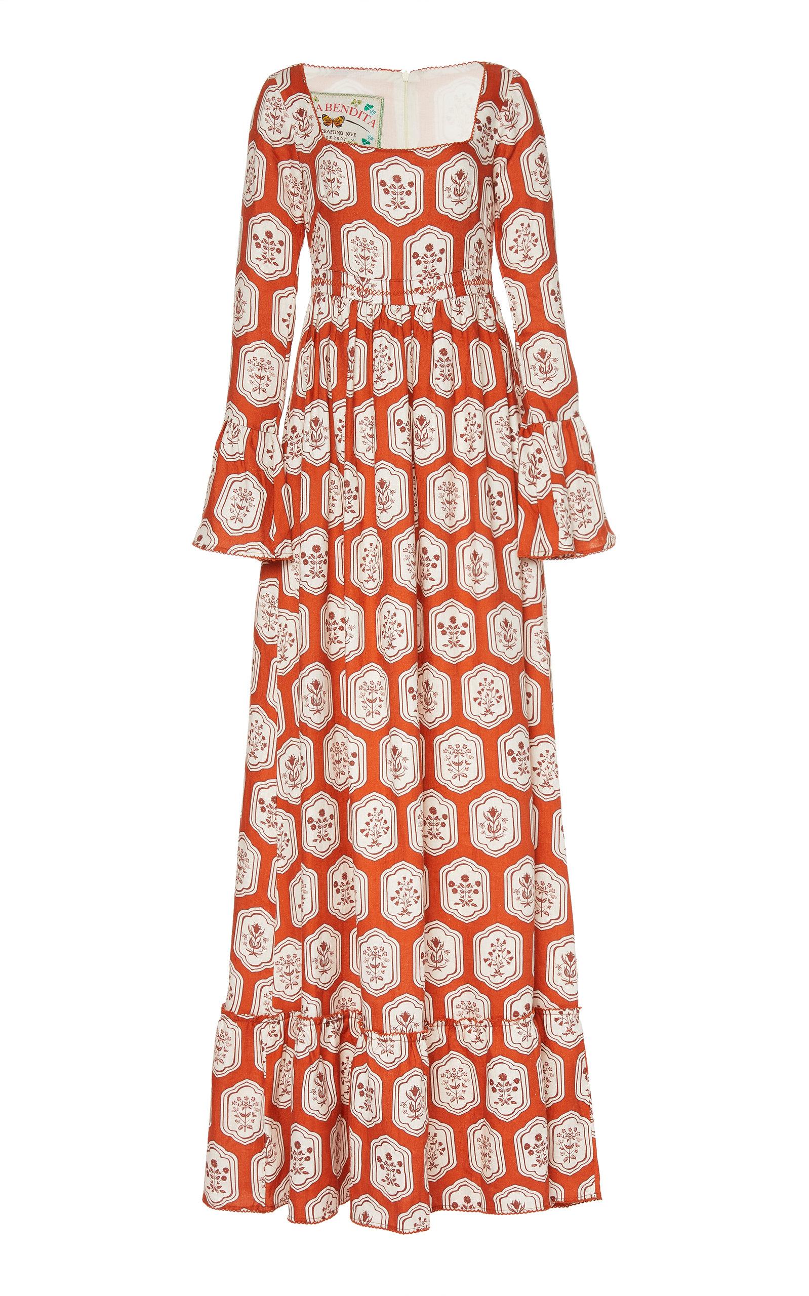 Buy Agua by Agua Bendita Curuba Printed Linen Maxi Dress online, shop Agua by Agua Bendita at the best price