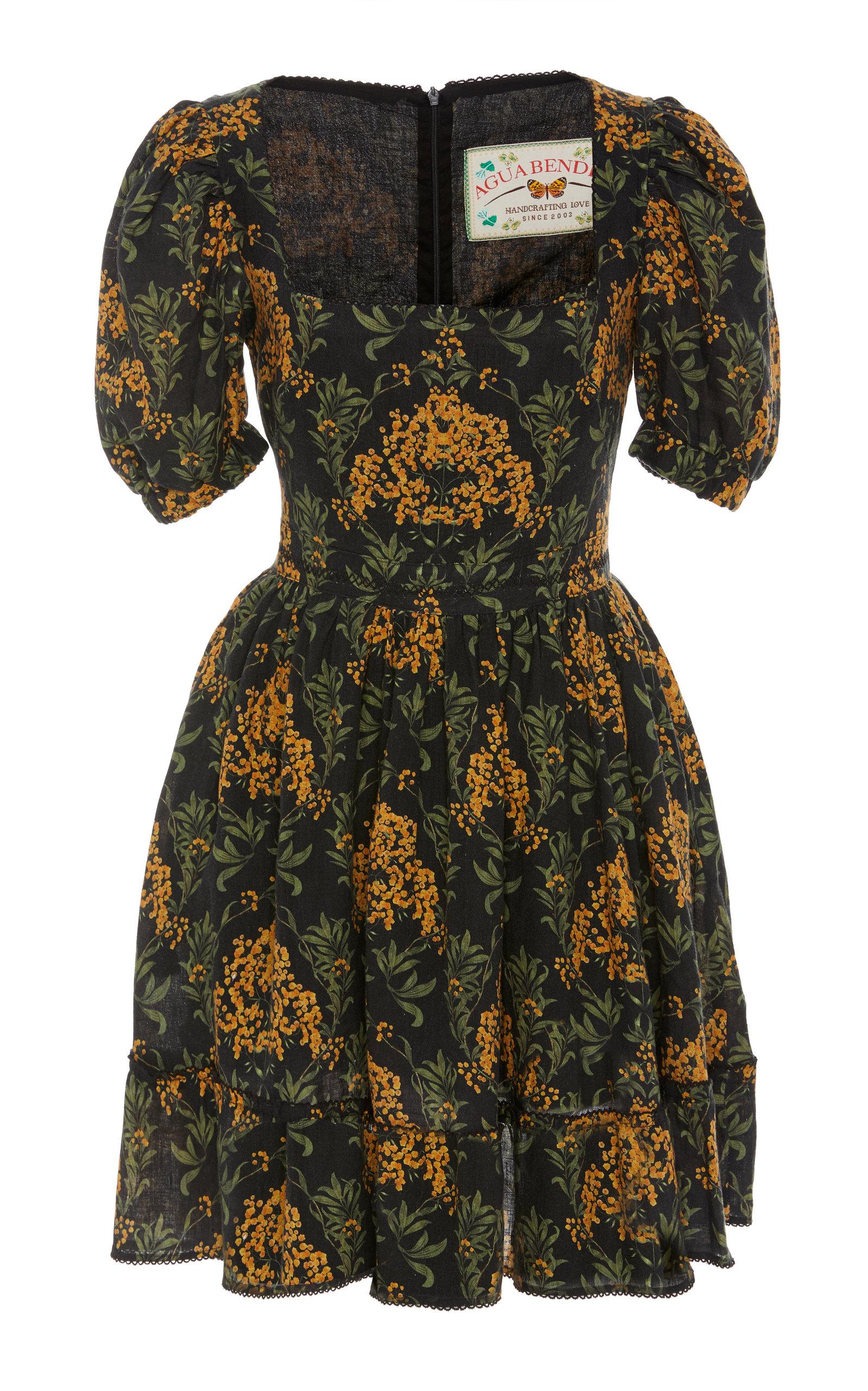 Buy Agua by Agua Bendita Pomelo Floral-Print Linen Mini Dress online, shop Agua by Agua Bendita at the best price