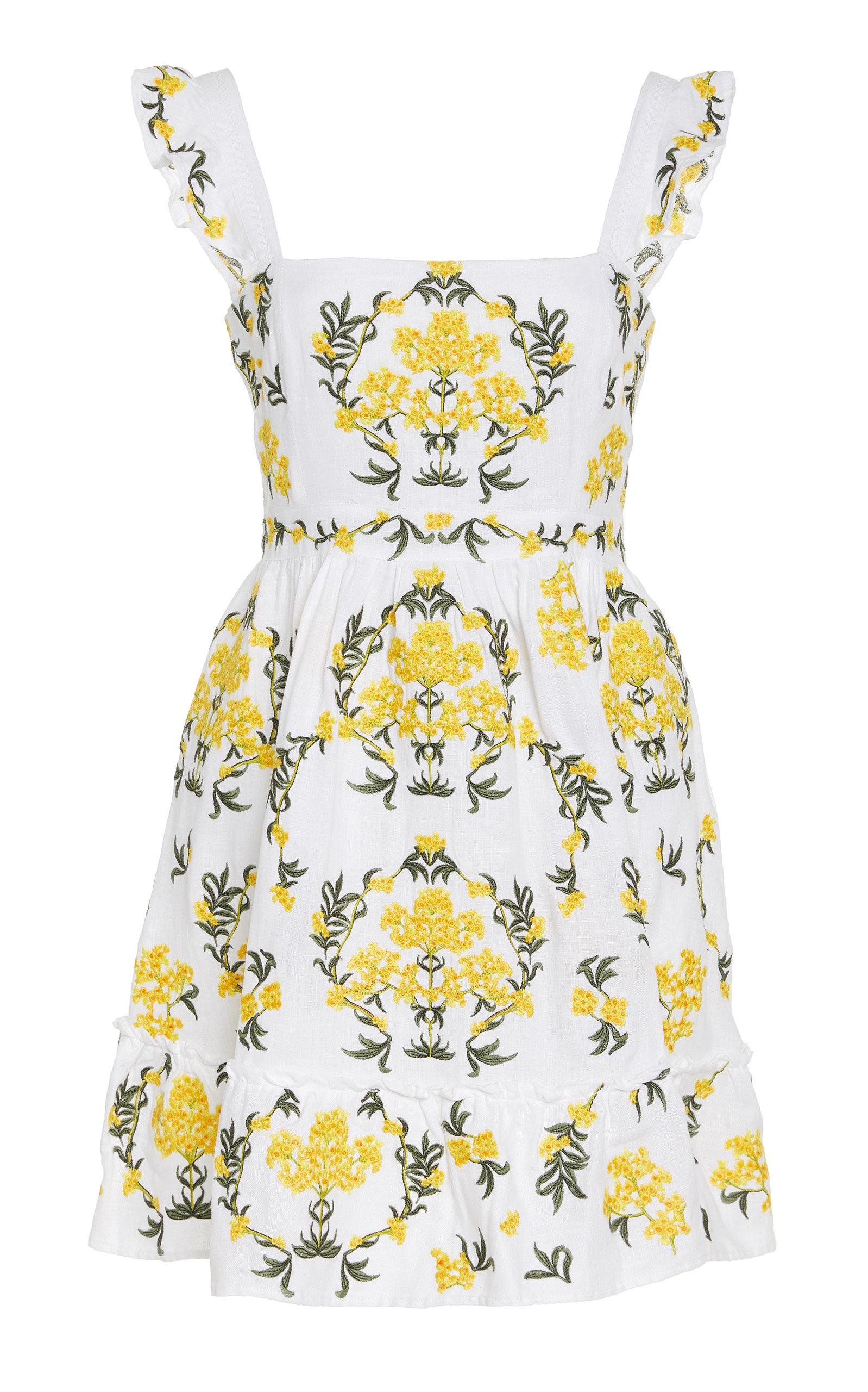 Buy Agua by Agua Bendita Herbarium Embroidered Linen Mini Dress online, shop Agua by Agua Bendita at the best price