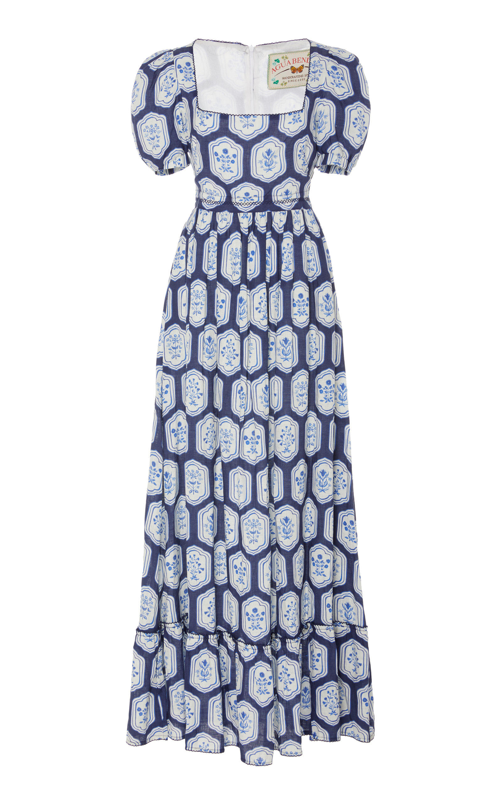 Buy Agua by Agua Bendita Pomelo Floral-Printed Linen Maxi Dress online, shop Agua by Agua Bendita at the best price