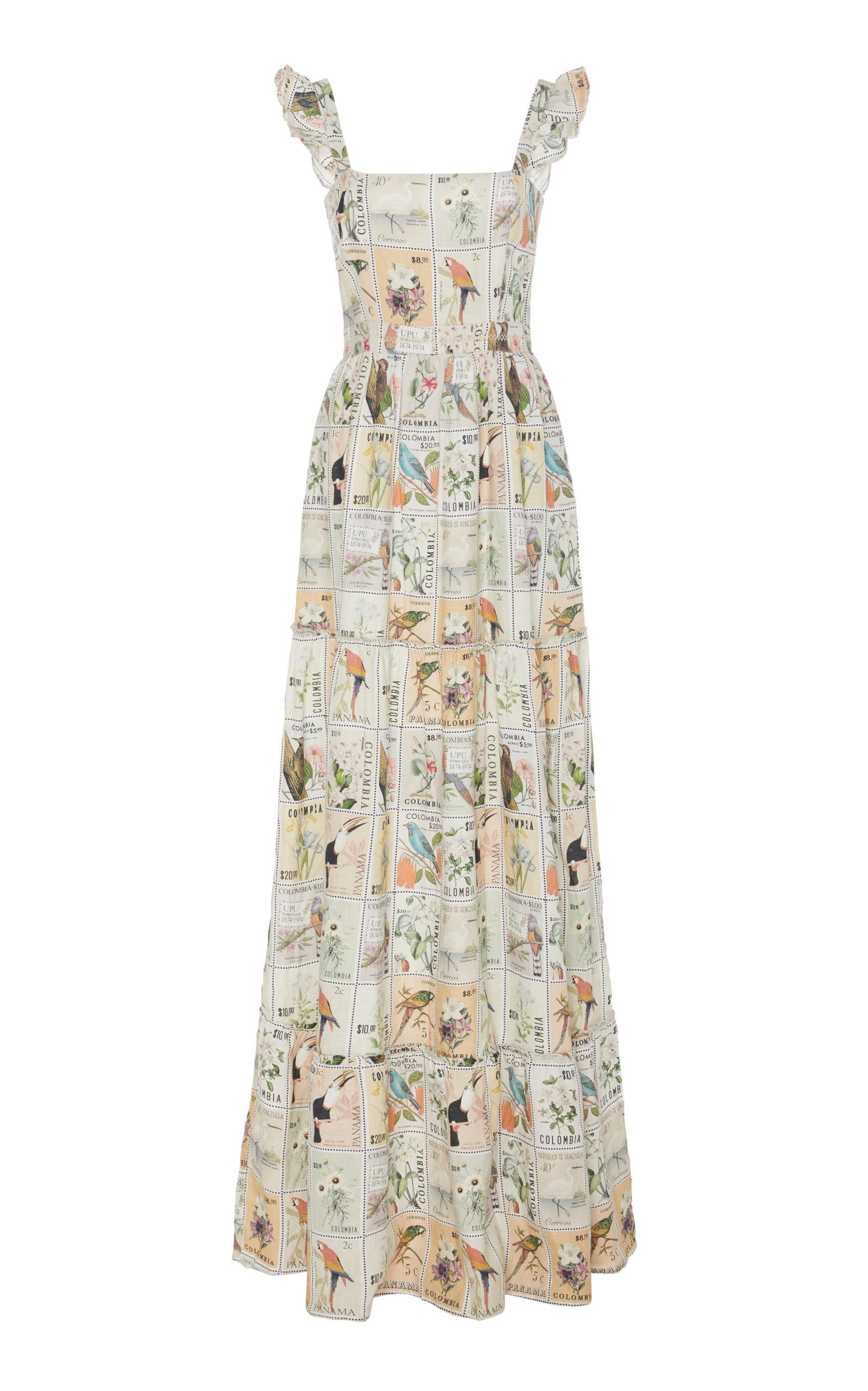 Buy Agua by Agua Bendita Herbarium Printed Linen Maxi Dress online, shop Agua by Agua Bendita at the best price