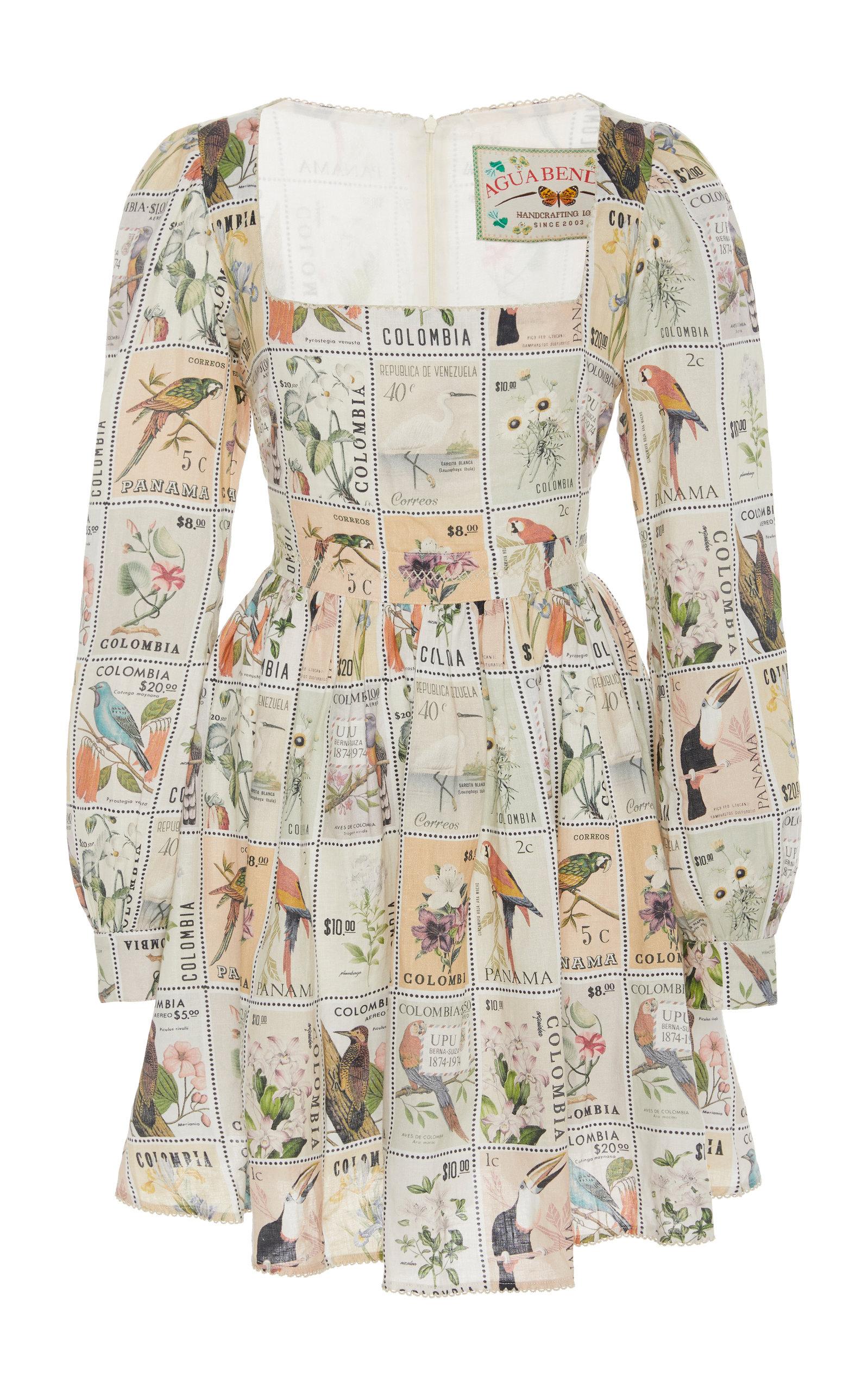 Buy Agua by Agua Bendita Curuba Printed Linen Mini Dress online, shop Agua by Agua Bendita at the best price