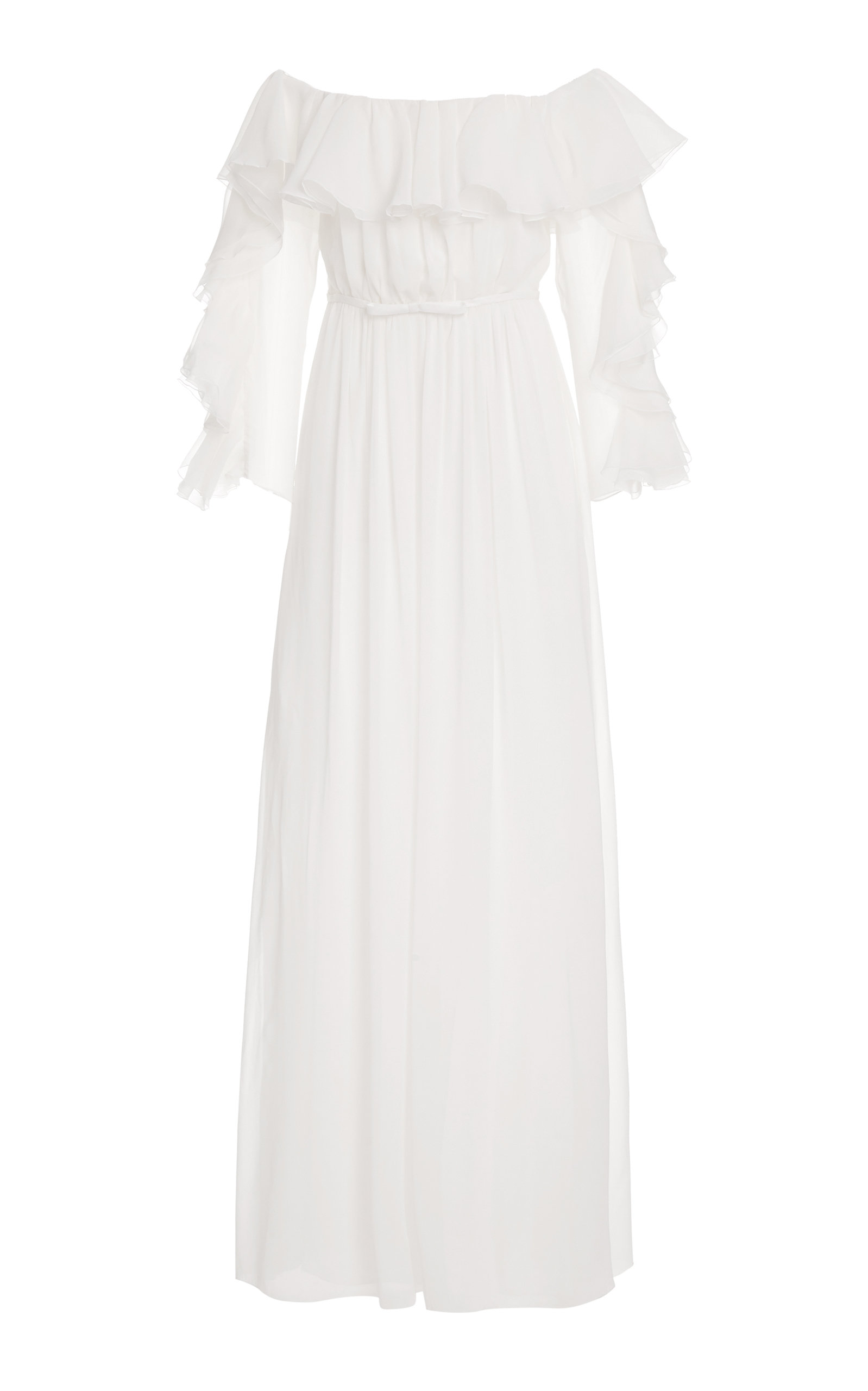 Buy Giambattista Valli Ruffled Silk Off-The-Shoulder Gown online, shop Giambattista Valli at the best price