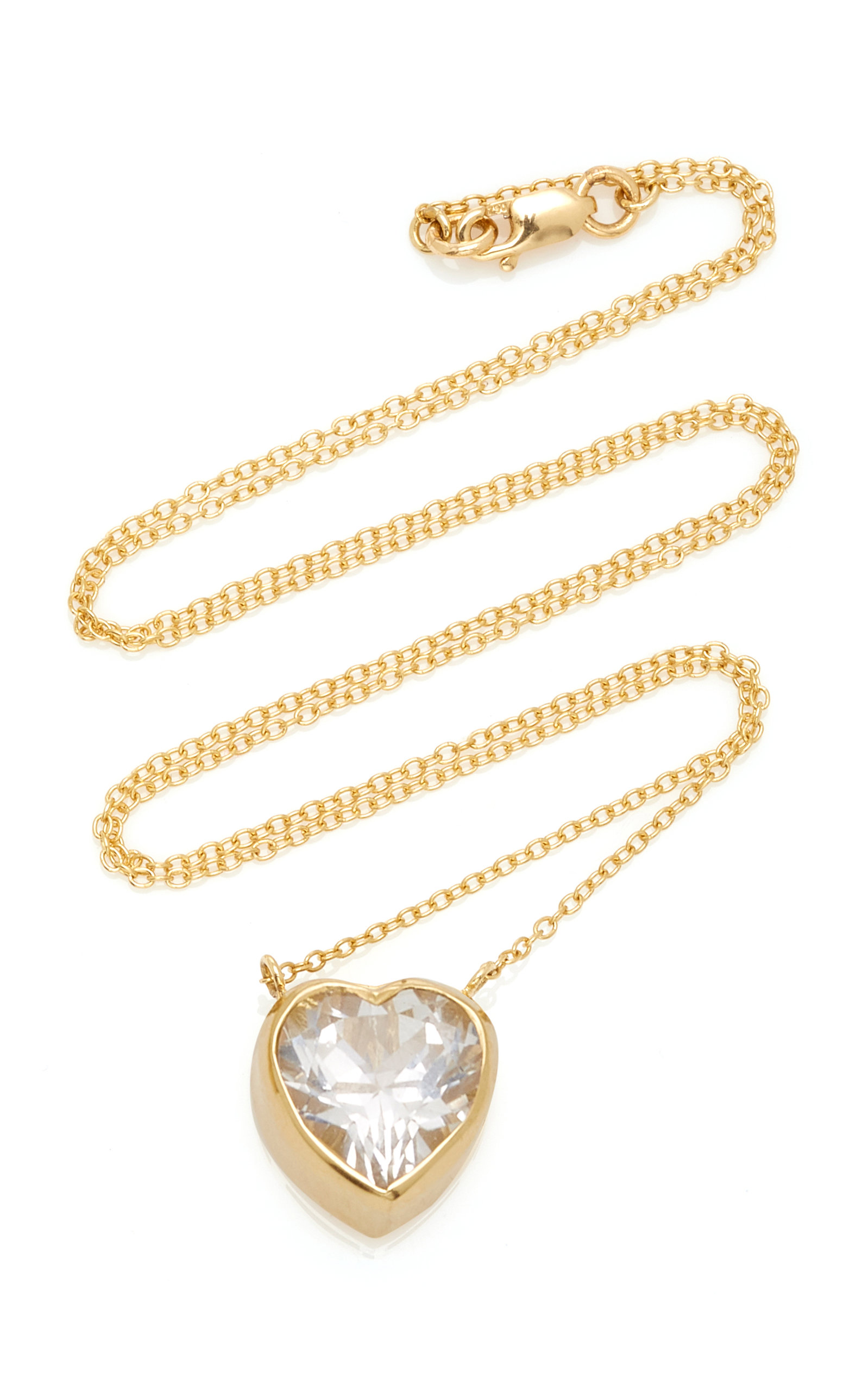 Women's Tiny Heart 18K Gold and Topaz Necklace